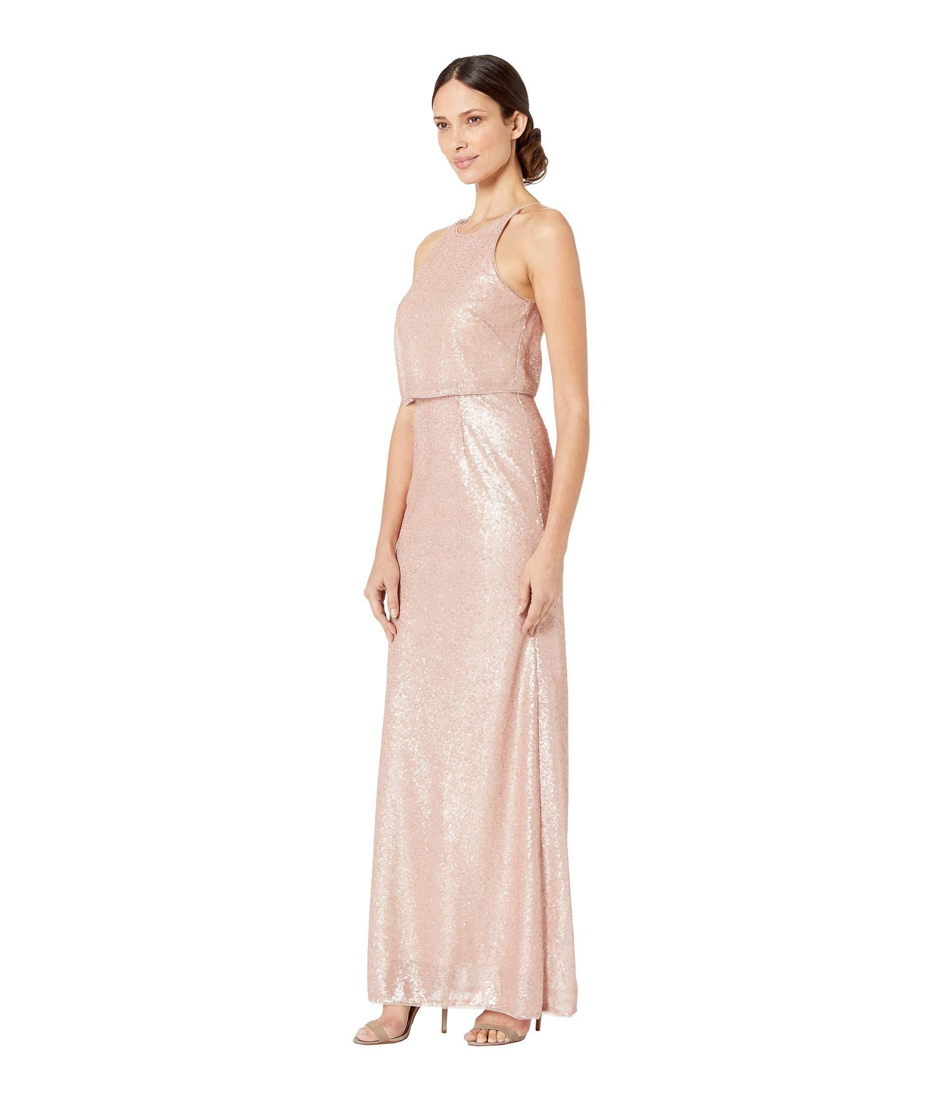 d83cacff Adrianna Papell Sequin Halter Popover Modified Mermaid Evening Gown (blush)  Women's Dress in Pink - Lyst