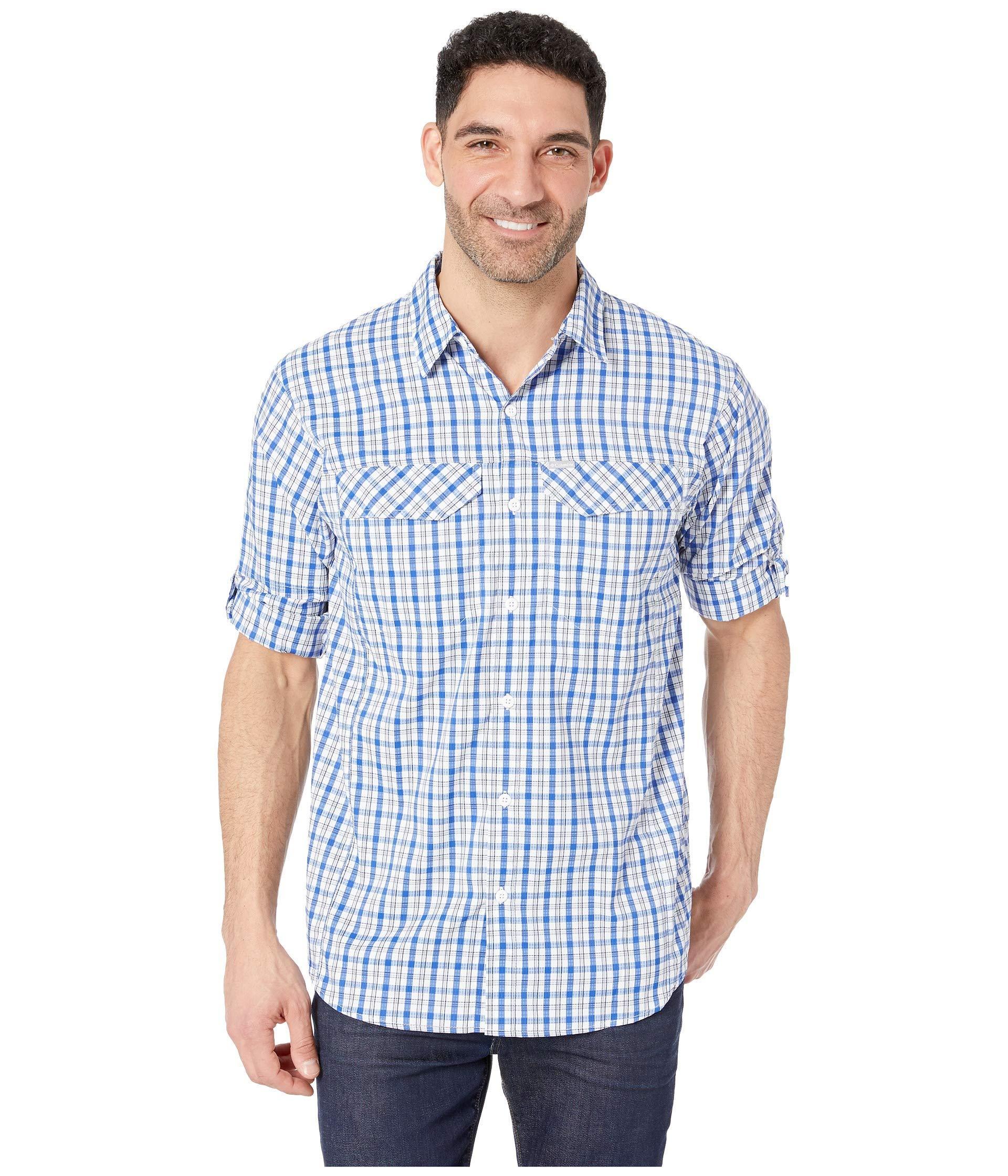 8c4c1566b98 Columbia. Blue Silver Ridge Lite Plaid Long Sleeve Shirt (cypress Gingham) Men's  Long Sleeve Button Up