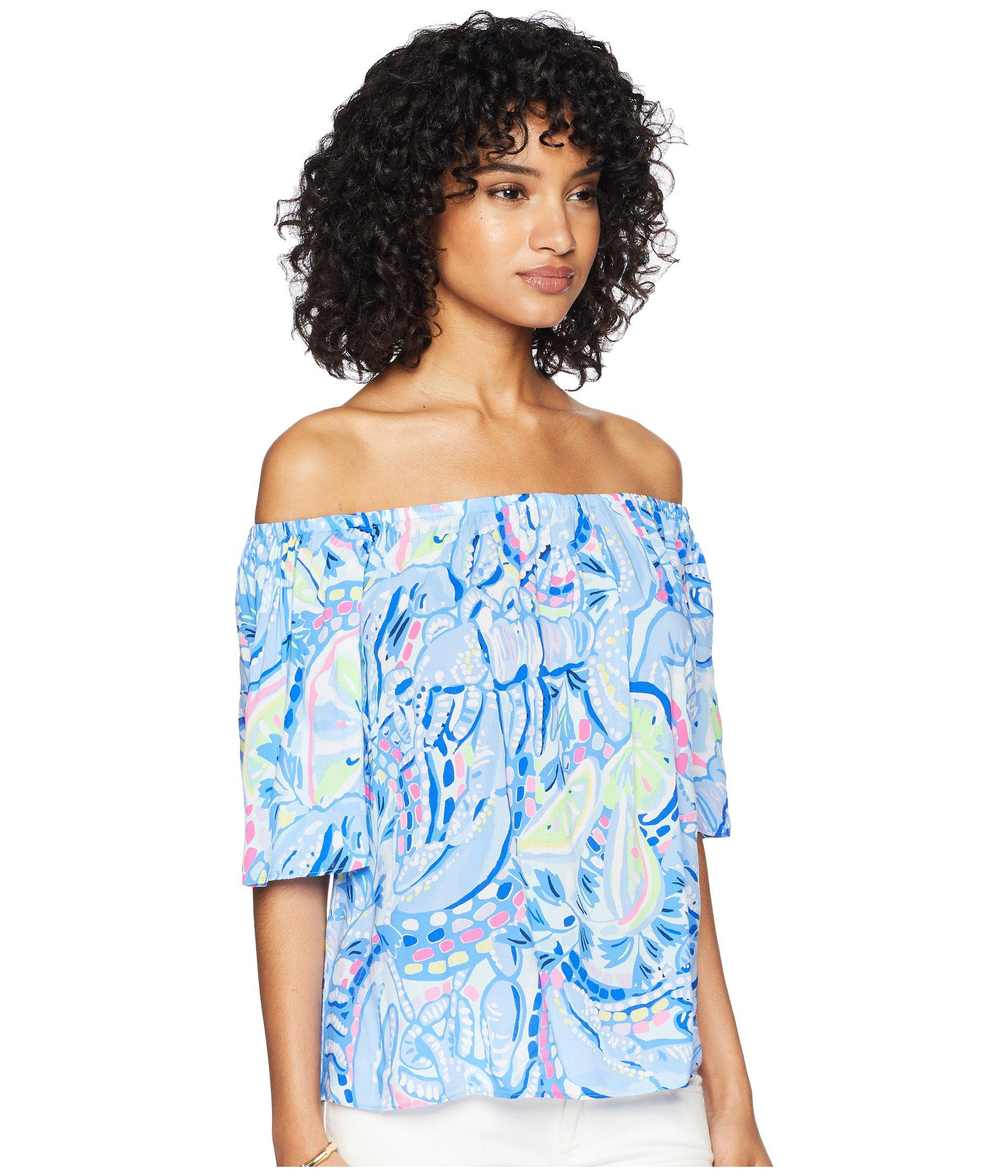 4e9351158a546 Lyst - Lilly Pulitzer Sain Off-the-shoulder Top (pink Sunset The ...