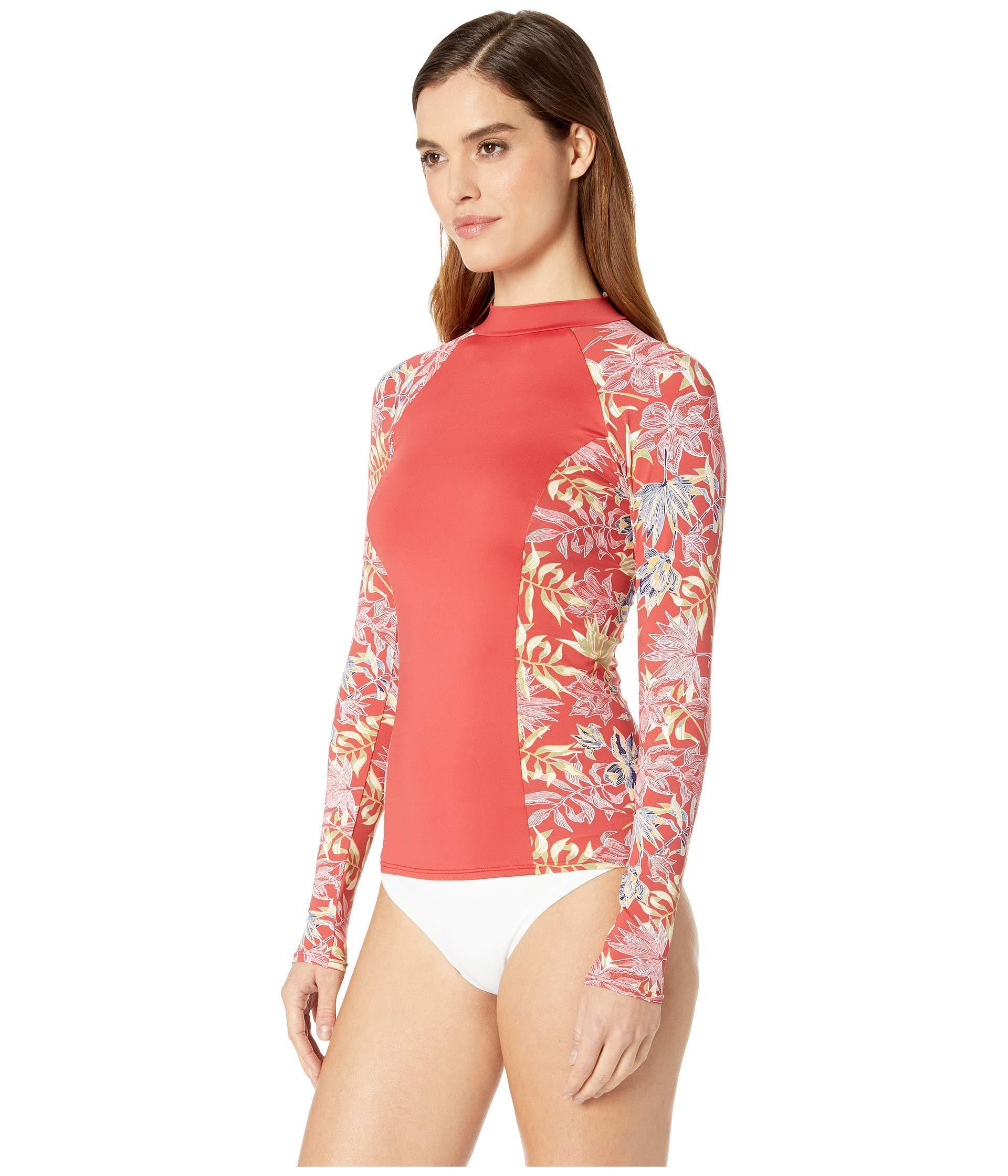 09bbb035f9 Lyst - Roxy Printed Softly Love Long Sleeve Rashguard (cardinal Vivian  Small Swim) Women s Swimwear in Red