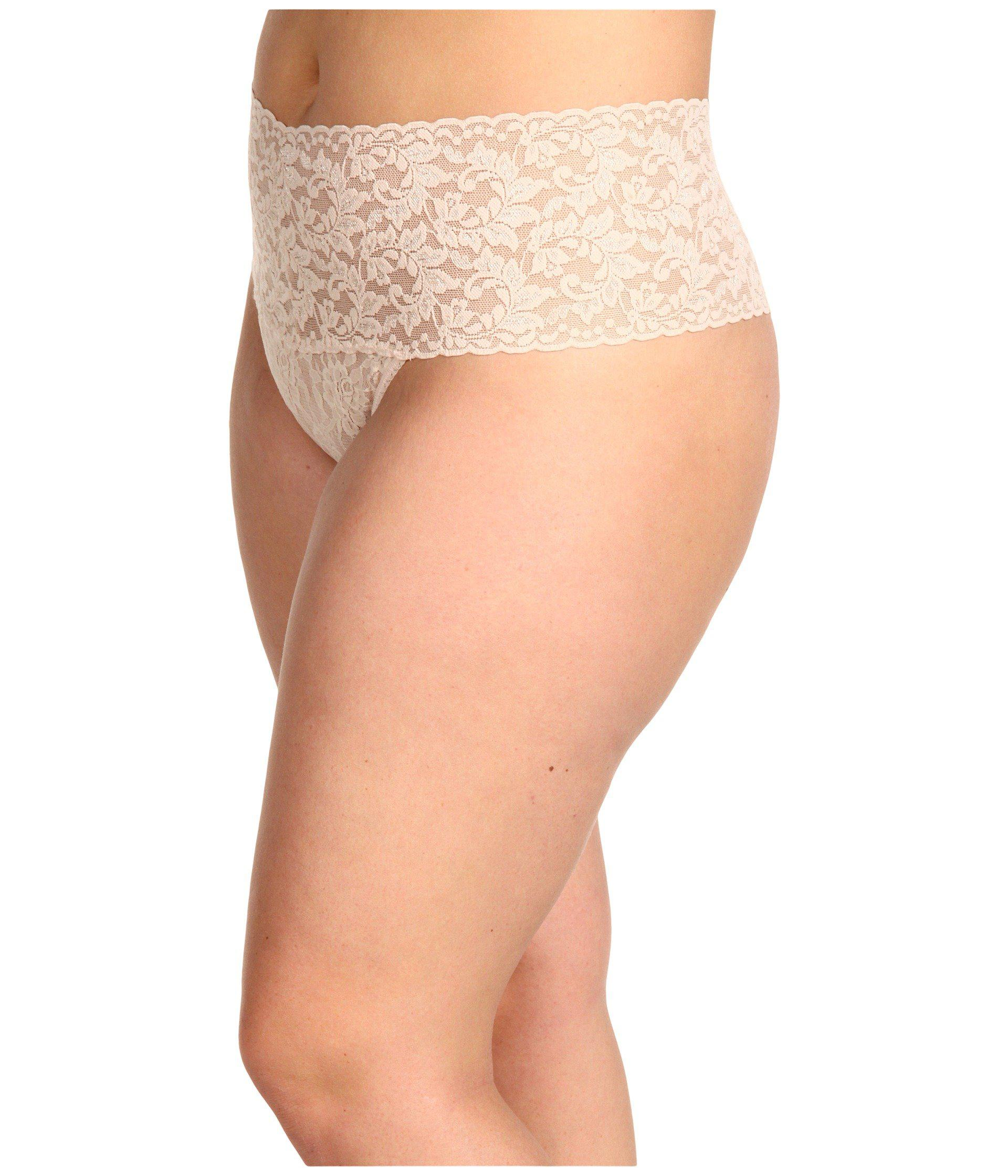 1ad89dbcd8af Lyst - Hanky Panky Plus Size Signature Lace Retro Thong (black) Women's  Underwear in Natural