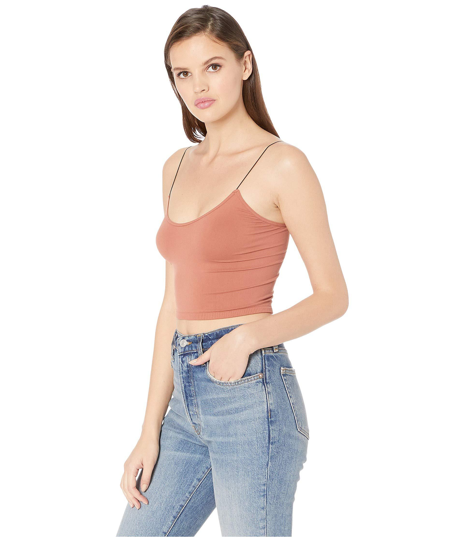 ad5f69842c308 Lyst - Free People Seamless Skinny Strap Crop Cami (black) Women s  Sleeveless in Blue