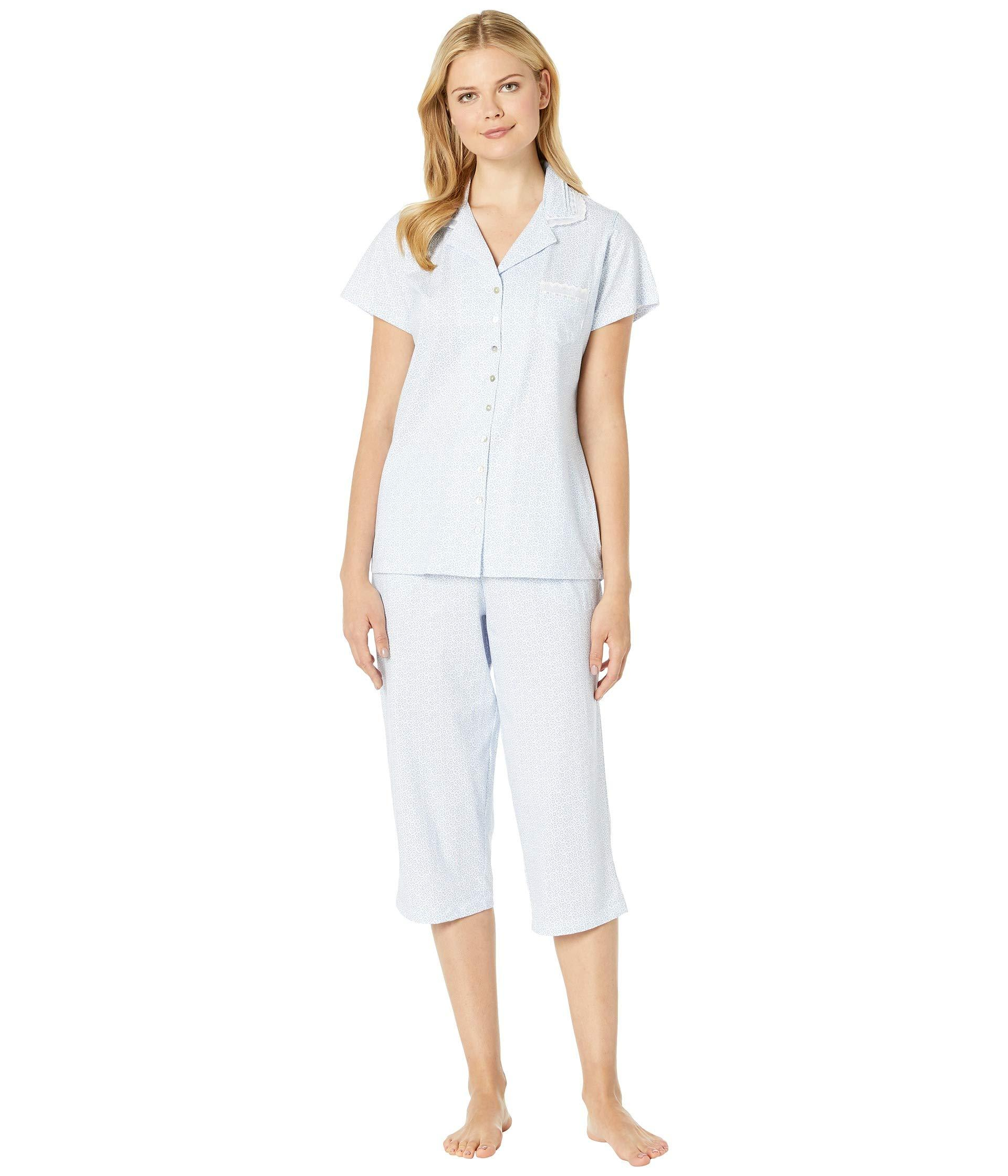 Eileen West. White Cotton Jersey Notch Collar Pajama Set (peri Ground Floral  ... ff6811d71