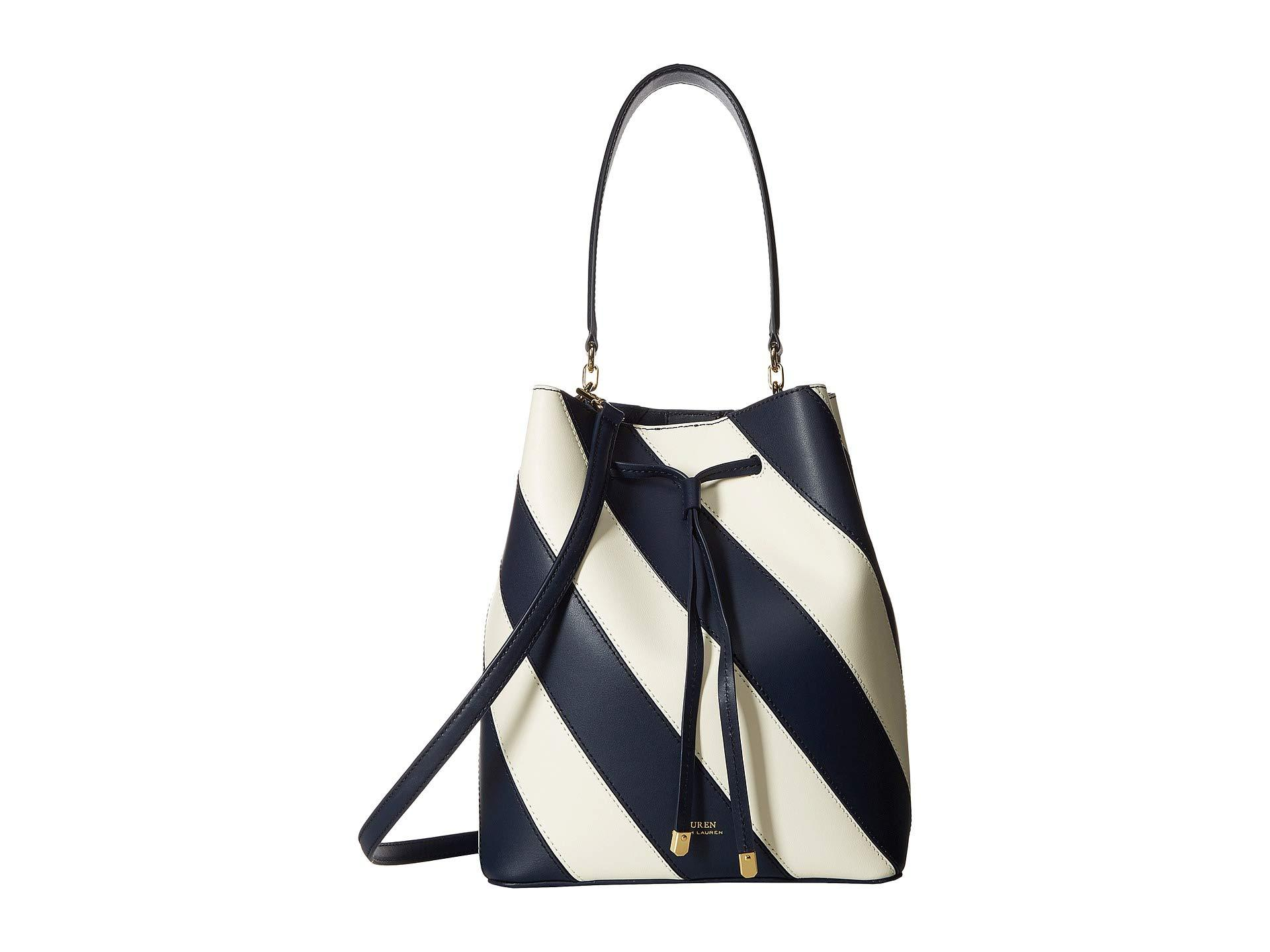 Lauren by Ralph Lauren. Women s Blue Diagonal Stripe Debby Drawstring Medium  (navy vanilla) Handbags 794464ef6258f