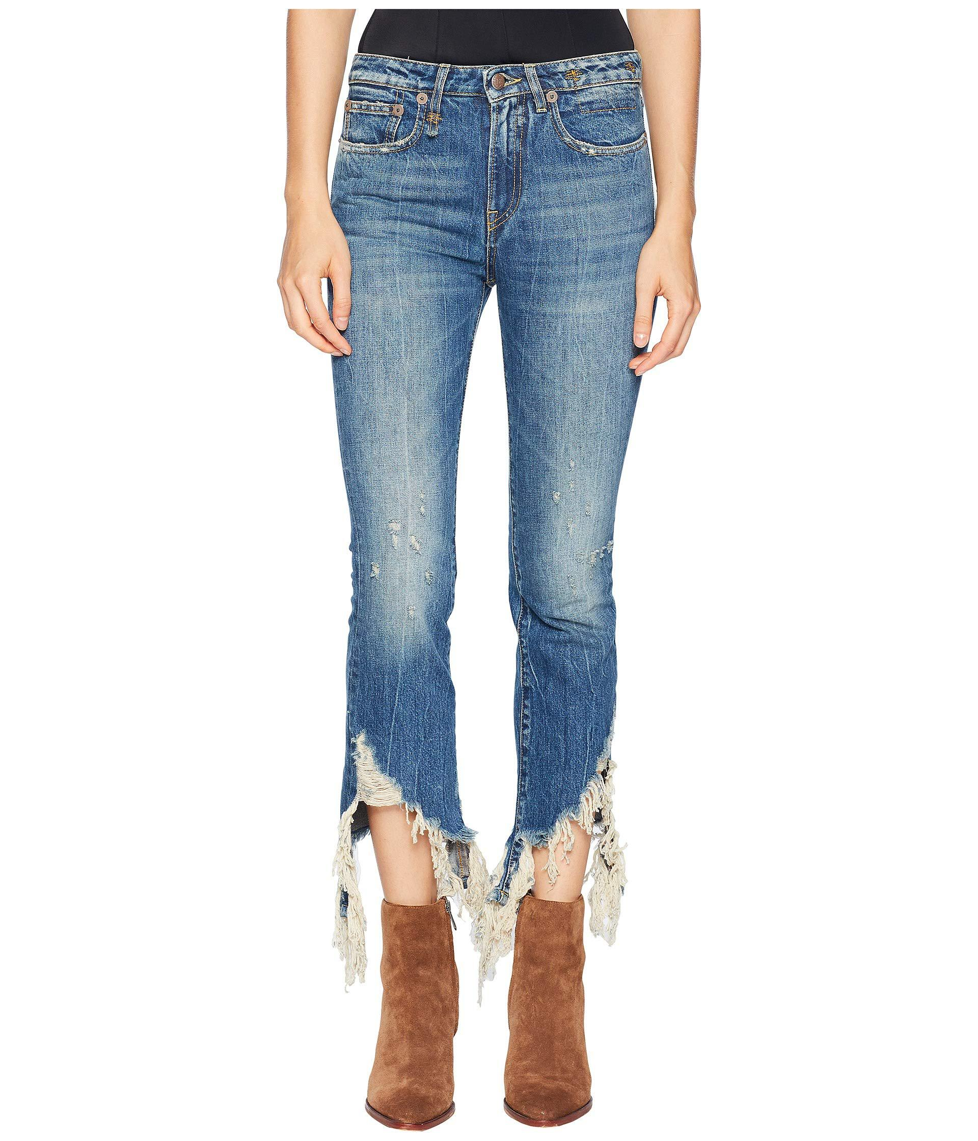 8ac09c7bc0 Lyst - R13 Spiral Kick With Frayed Hem (kelly) Women s Jeans in Blue