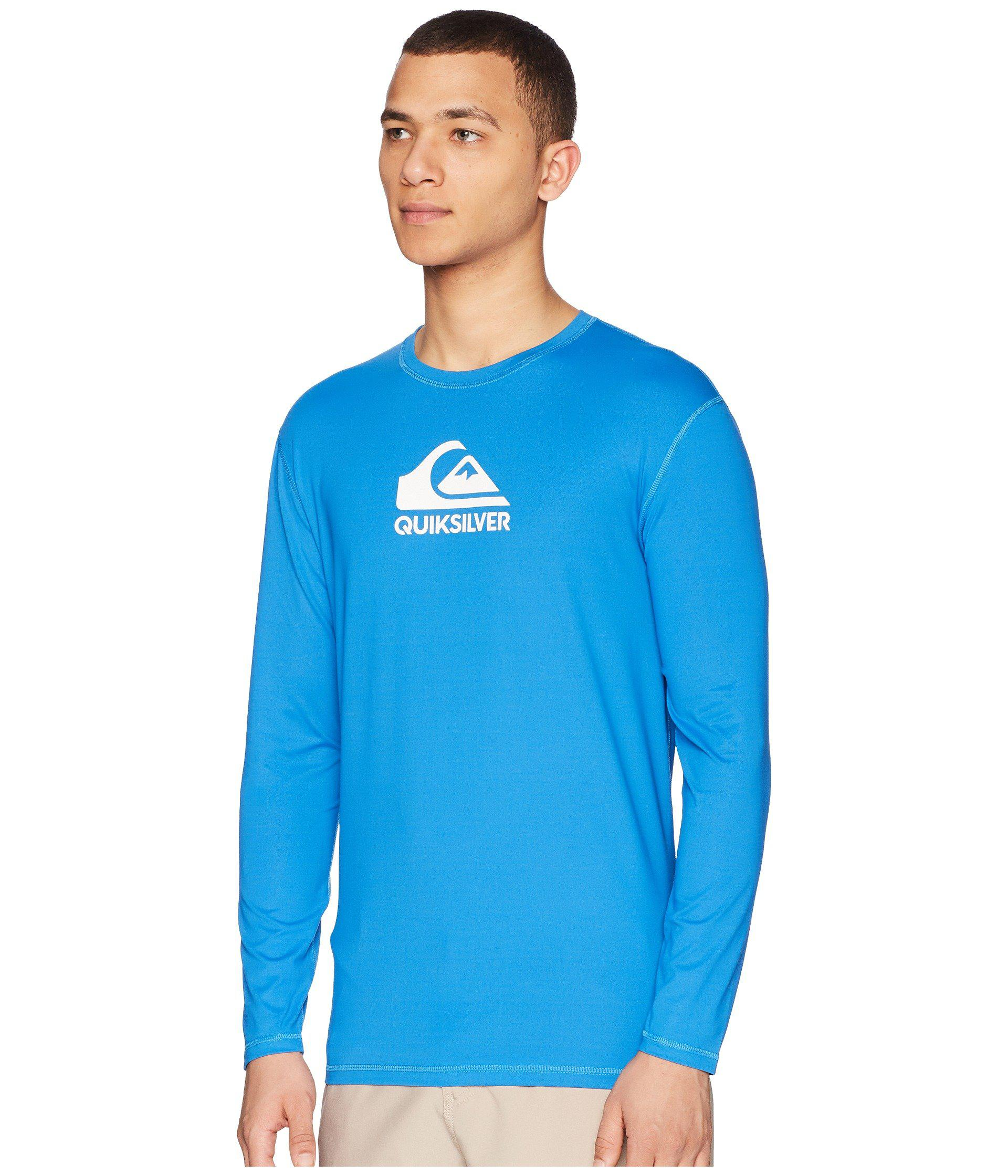 Men's Clothing Ocean Blue Quiksilver Mens Solid Streak Long Sleeve Rashguard Clothing, Shoes, Accessories