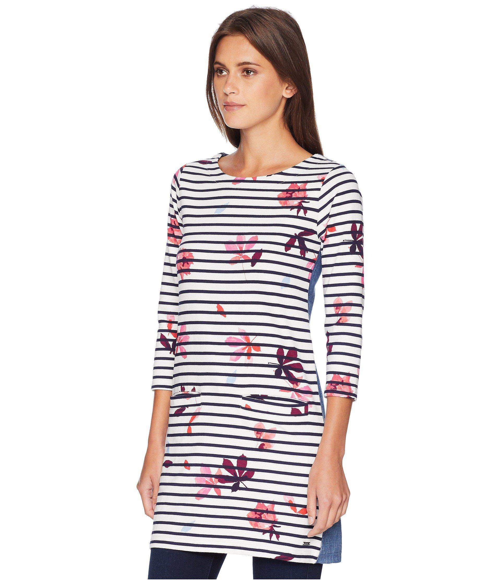 109a5e4e440 Joules Jade Jersey/woven Mix Tunic (french Navy Chestnut Leaves ...