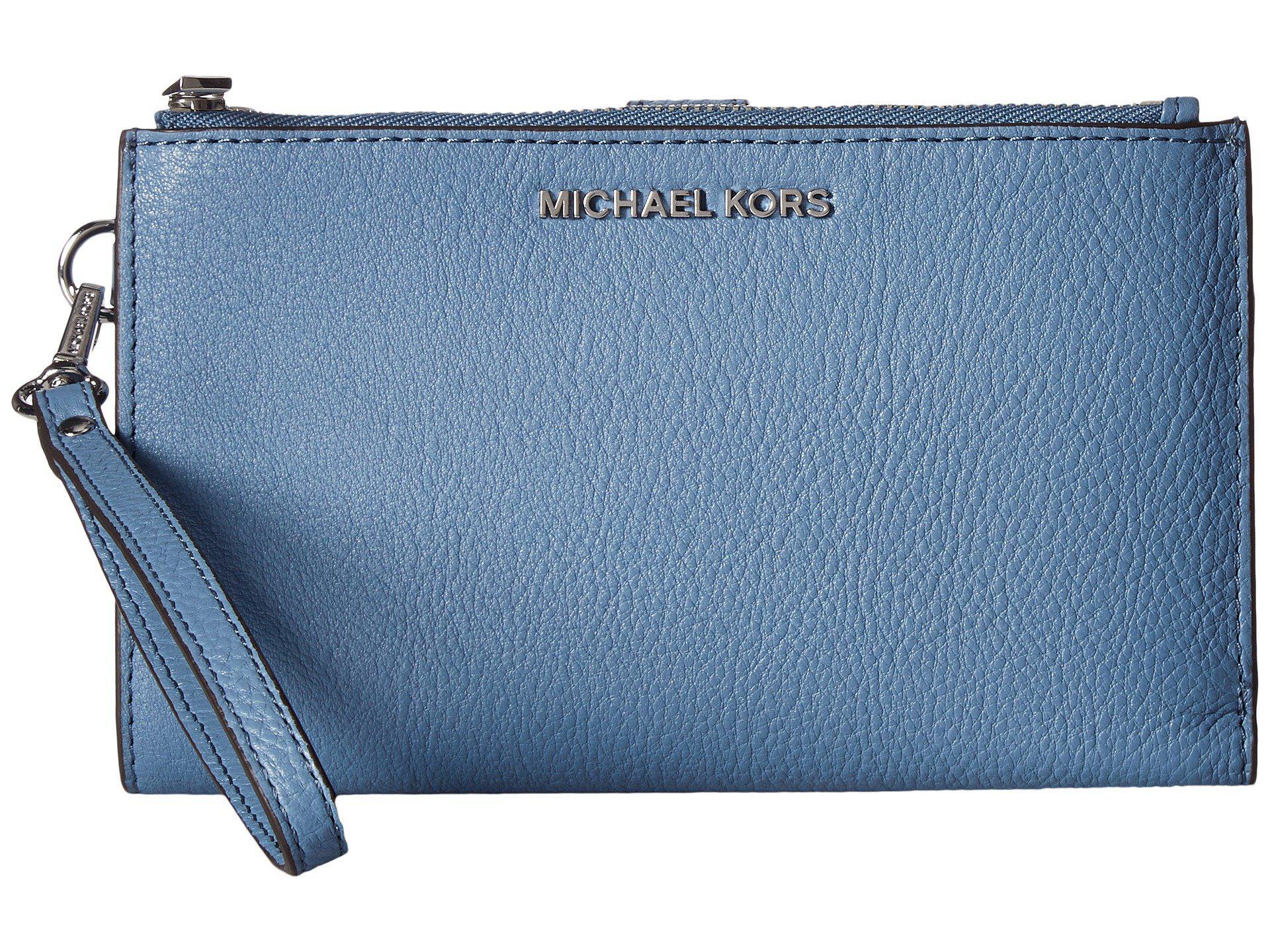 fdb3413dc0f80 Lyst - MICHAEL Michael Kors Adele Double Zip Wristlet 7+ in Blue