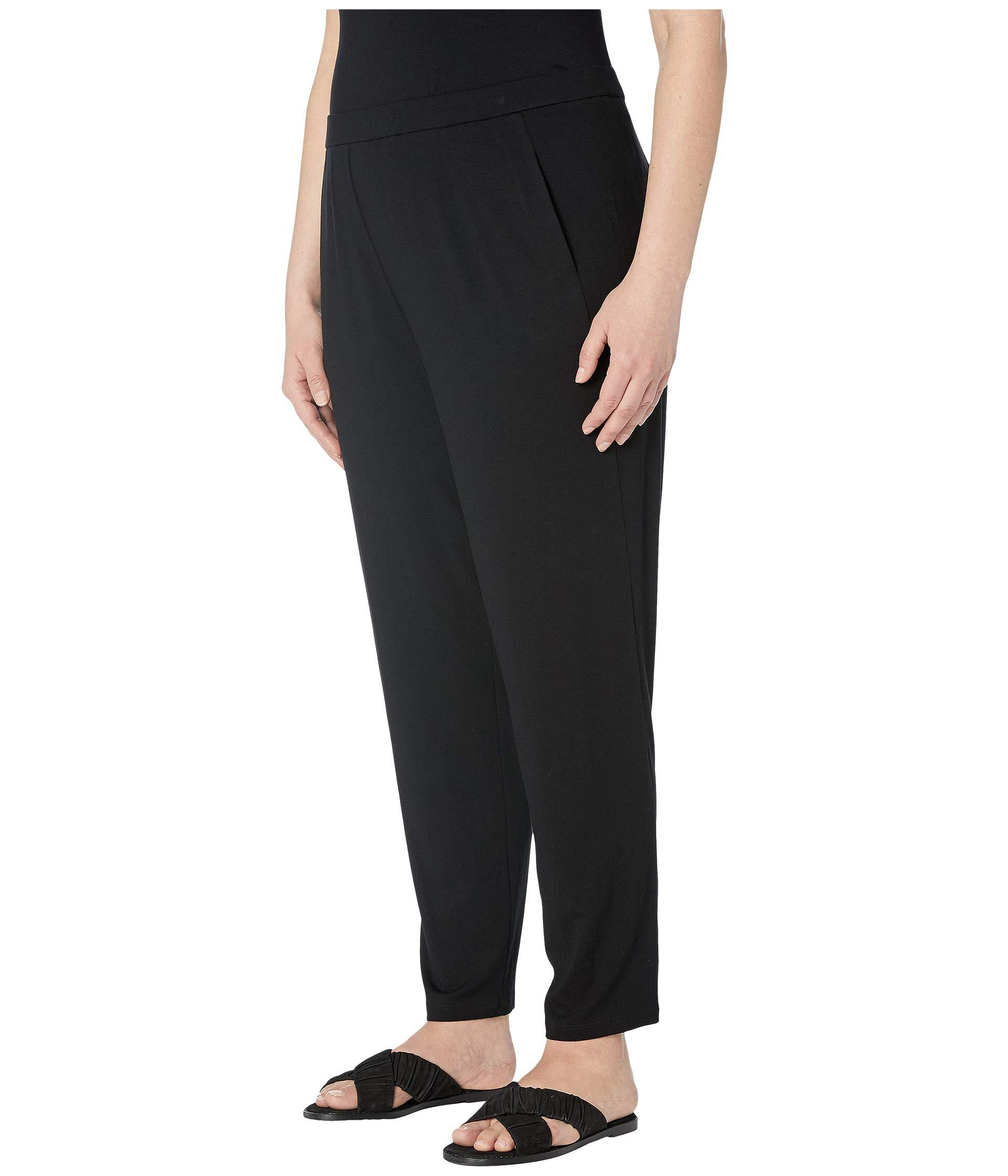 d30d3070bf2 Lyst - Eileen Fisher Plus Size Vicose Jersey Slim Ankle Slouchy Pants  (black) Women s Casual Pants in Black
