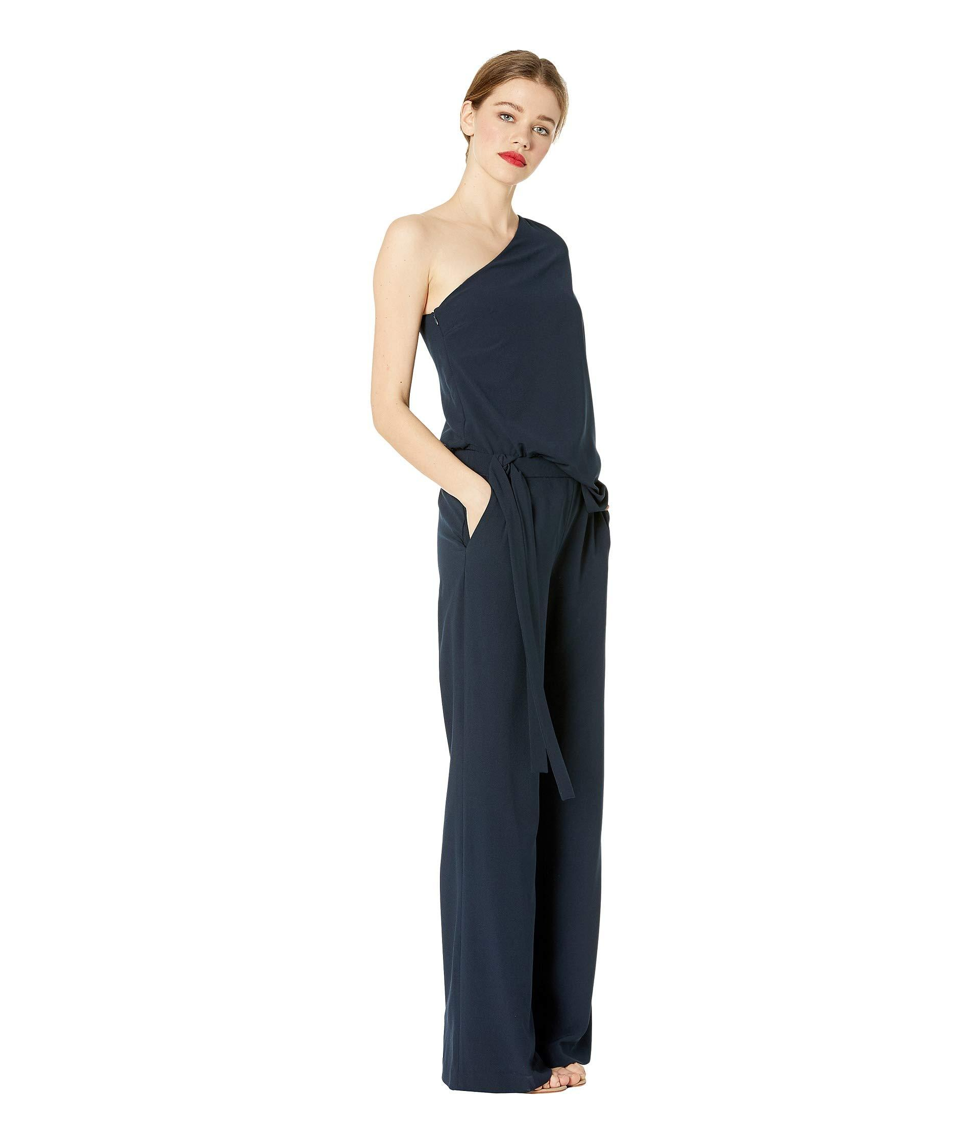 dff72bb98665 Halston Heritage - Blue Asymmetrical Crepe Jumpsuit (navy) Women s Jumpsuit    Rompers One Piece. View fullscreen