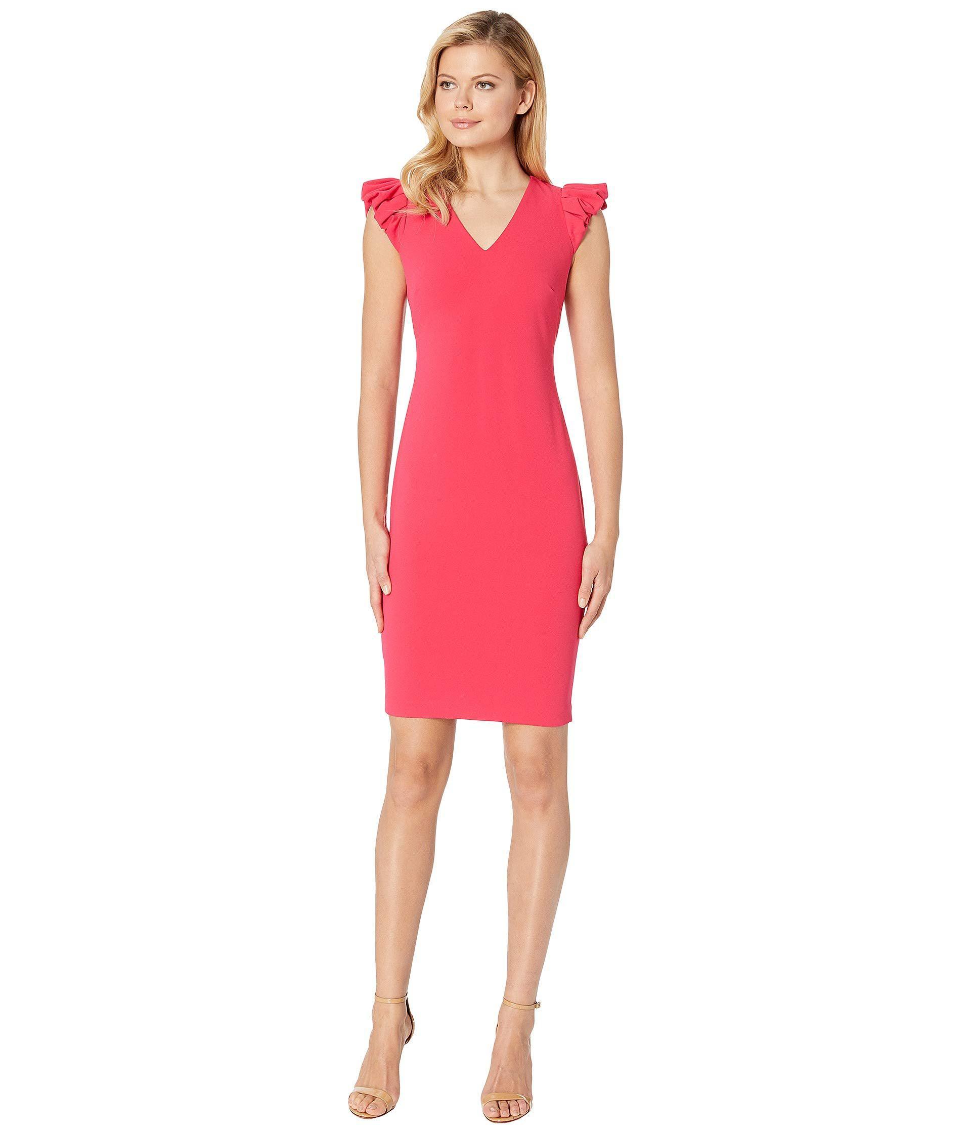 522c844a18a78 Calvin Klein - Pink Puff Sleeve V-neck Sheath Dress Cd8c13gy (lipstick)  Women s. View fullscreen