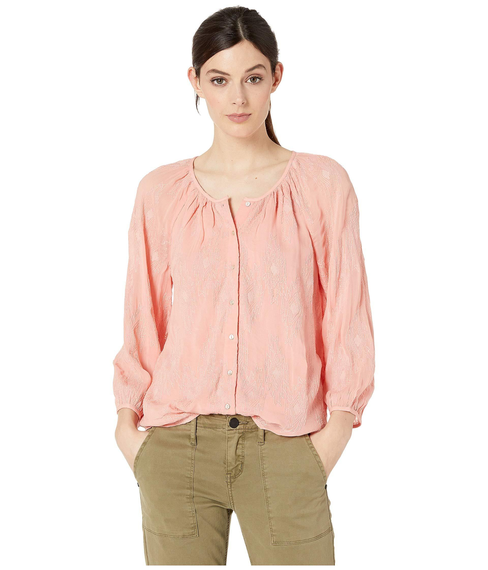 fa28eff837400 Lyst - Lucky Brand Geo Embroidered Button Through Peasant Top in ...