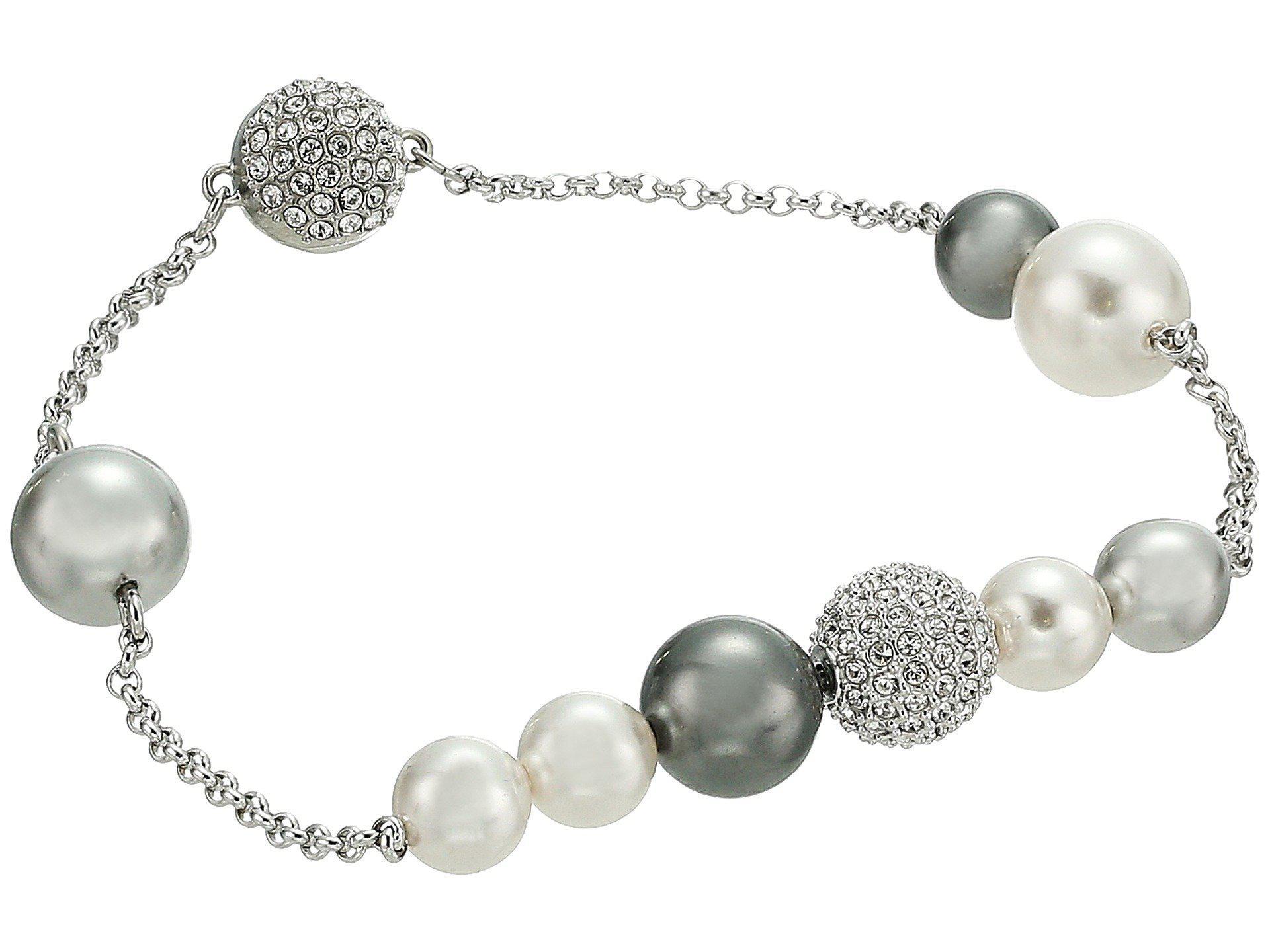 Lyst - Swarovski Remix Collection Mixed Gray Crystal Pearl Bracelet ... e4a0ba99efa2