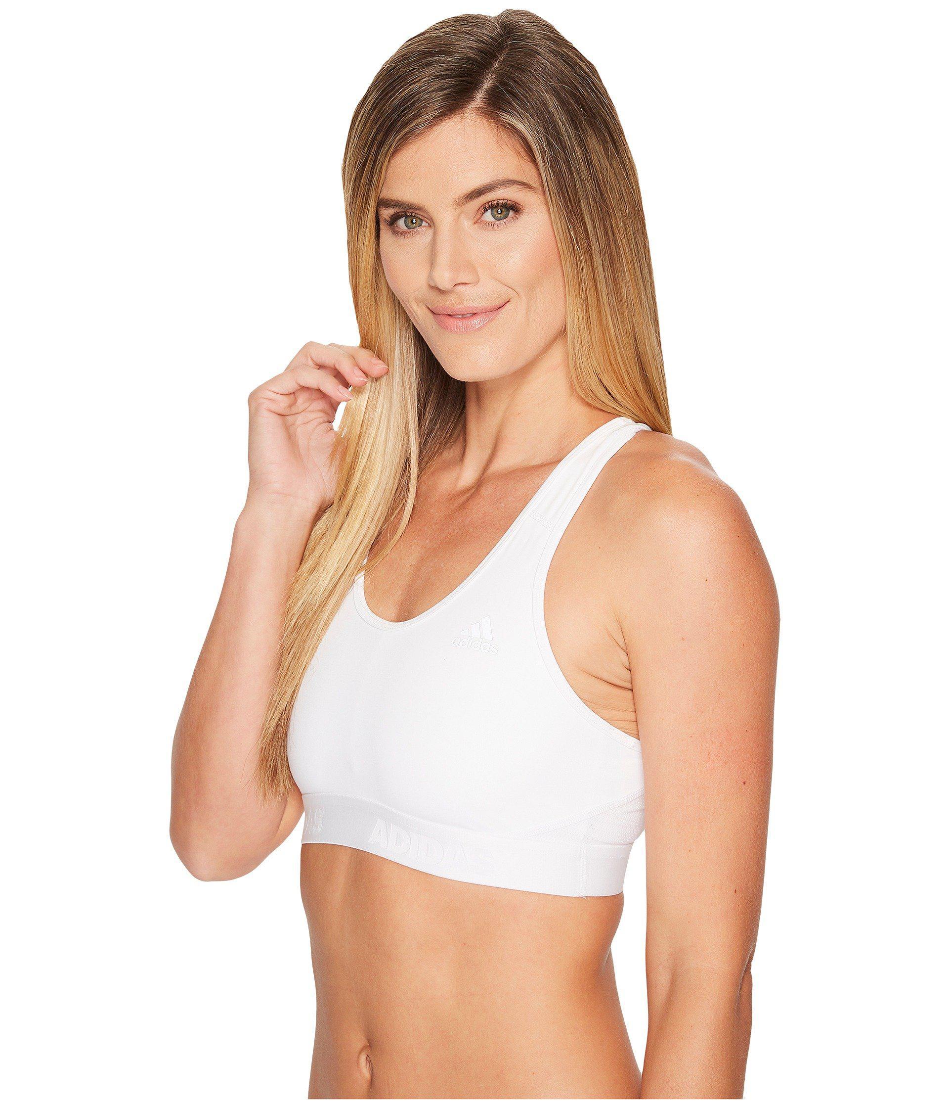 e8afea4efb9c8 Lyst - Adidas Alphaskin Sport Bra (dark Grey Heather) Women s Bra in White