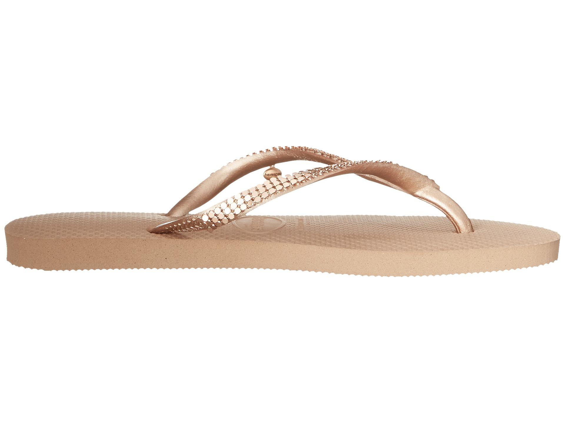 08b83d221049 Lyst - Havaianas Slim Metal Mesh Flip Flops in Natural