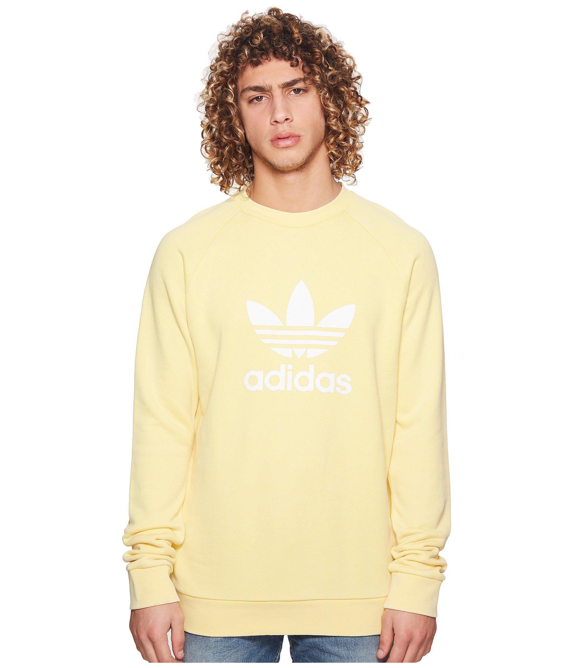 28f9d3d485b Lyst - adidas Originals Trefoil Crew Sweatshirt in Yellow for Men