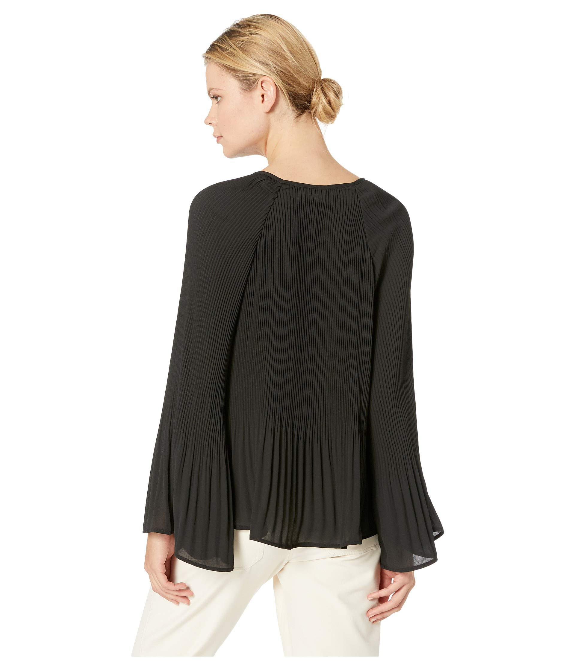 4b6bd9f254f Lyst - B Collection By Bobeau Ivanna Pleated Tie Neck Top (black ...