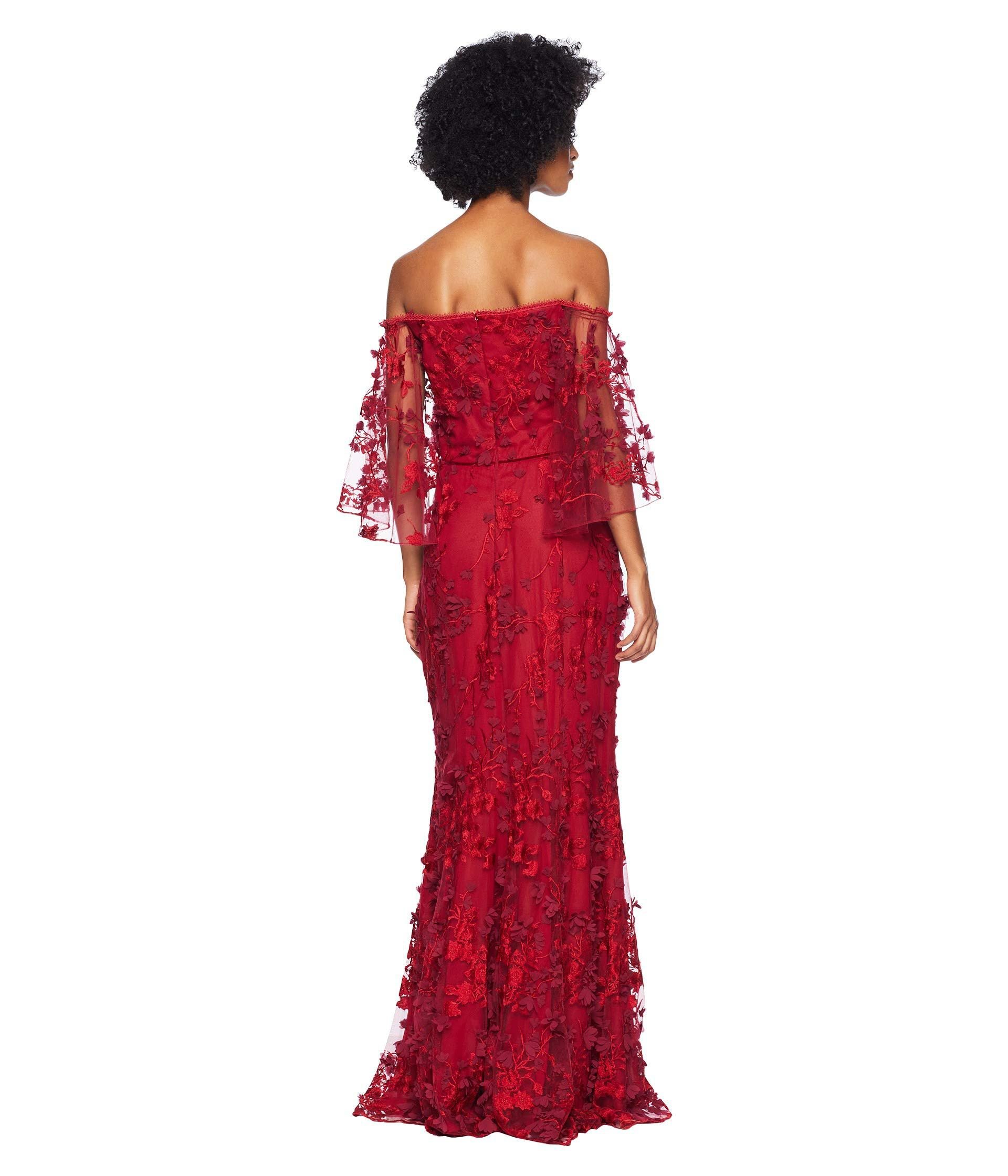 f1995321 Lyst - Marchesa notte Off The Shoulder Flutter Sleeve Embroidered ...