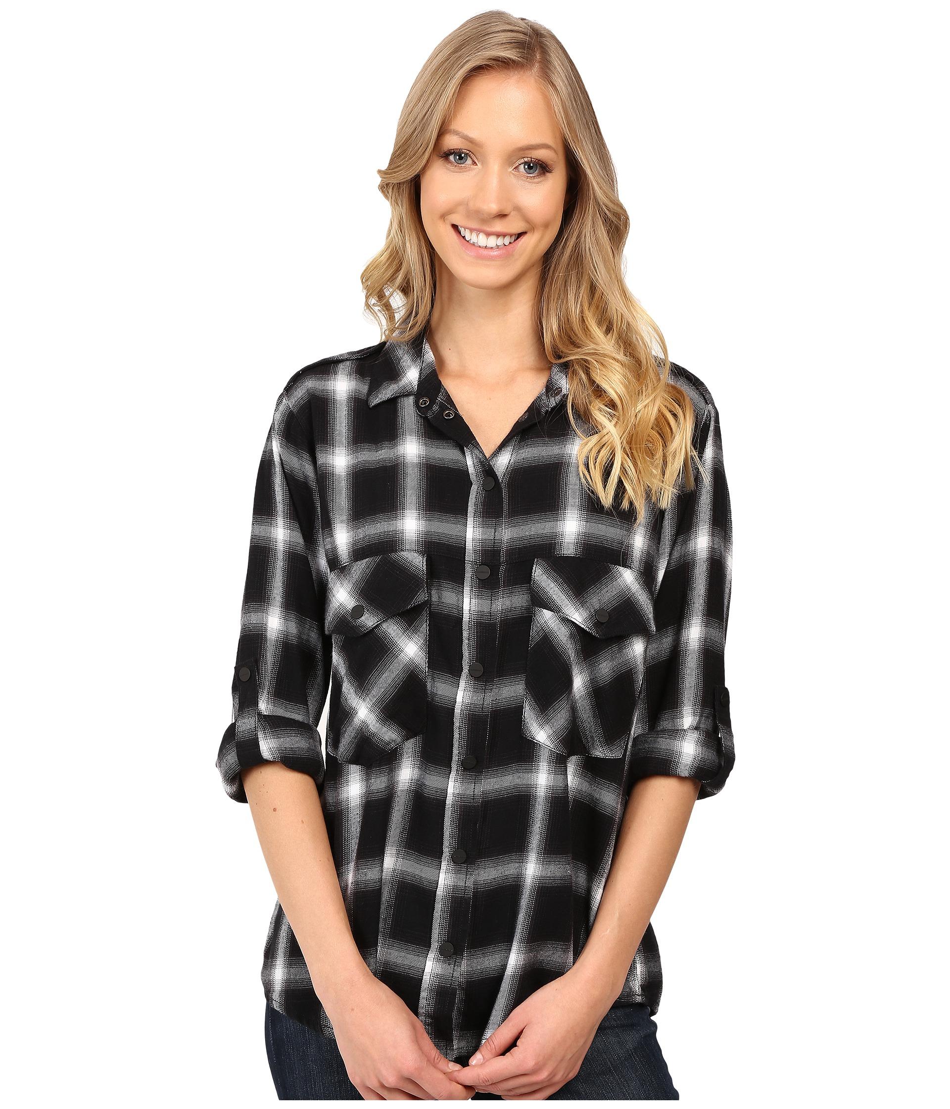 Sanctuary Plaid Flannel Boyfriend Shirt In Black Lyst