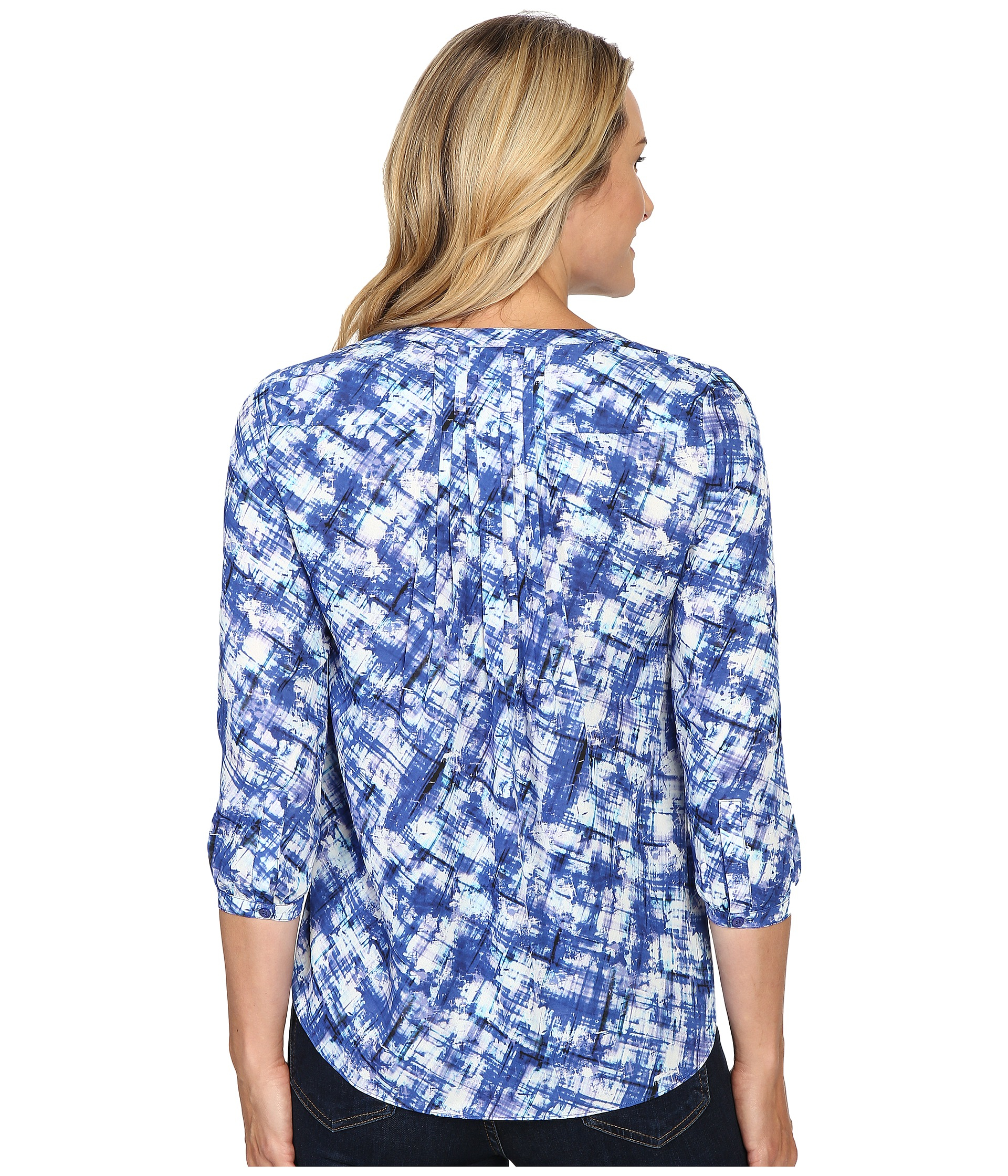 Lyst nydj henley blouse in blue for 20 34 35 dress shirts