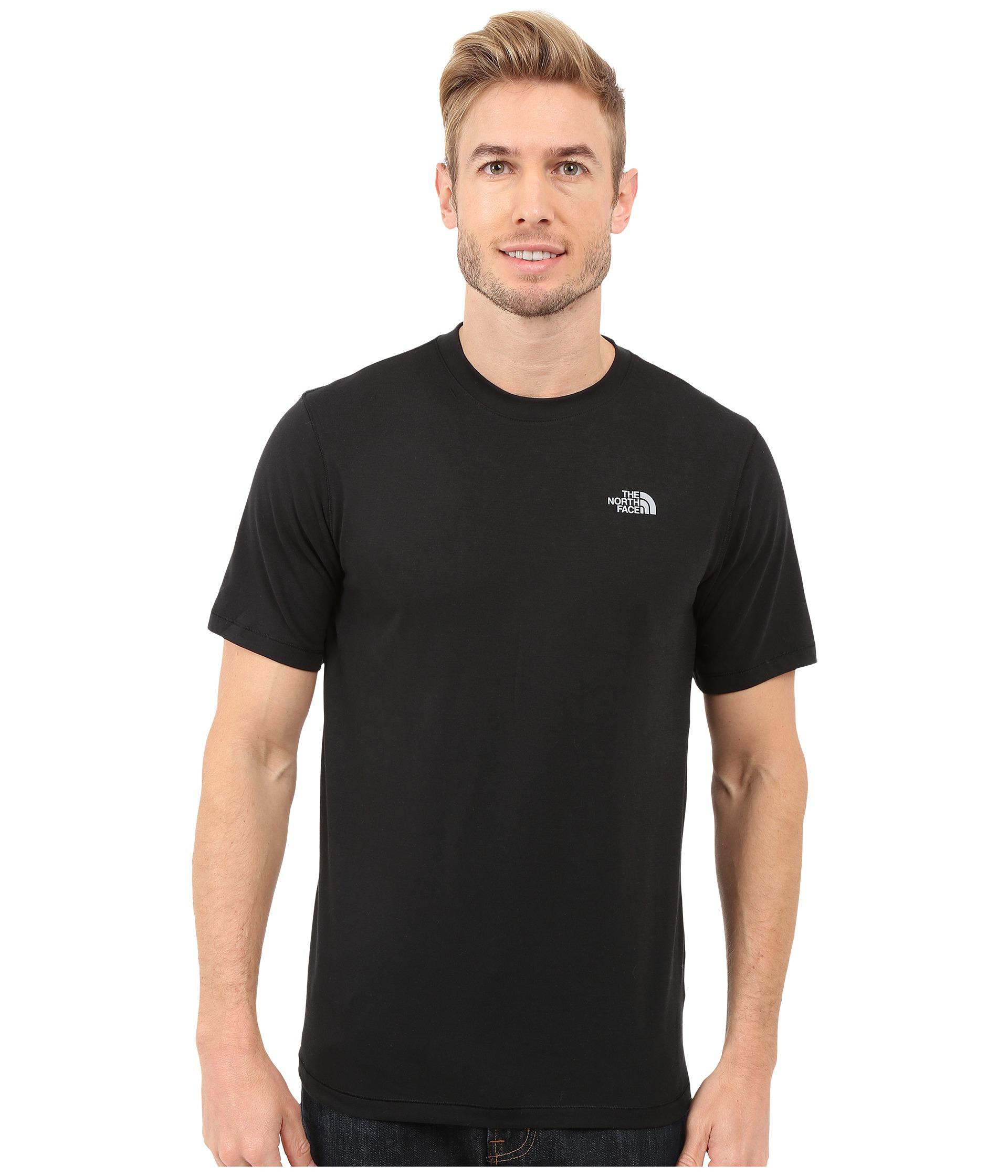 The north face easy logo short sleeve t shirt in black for for The north face short sleeve shirt