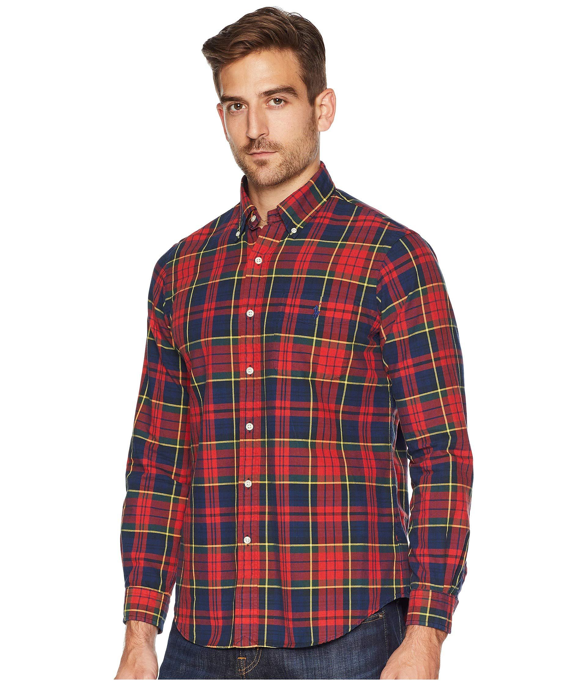 a45917451672 Lyst - Polo Ralph Lauren Classic Fit Oxford Tartan (woodland red Multi) Men s  Clothing in Red for Men