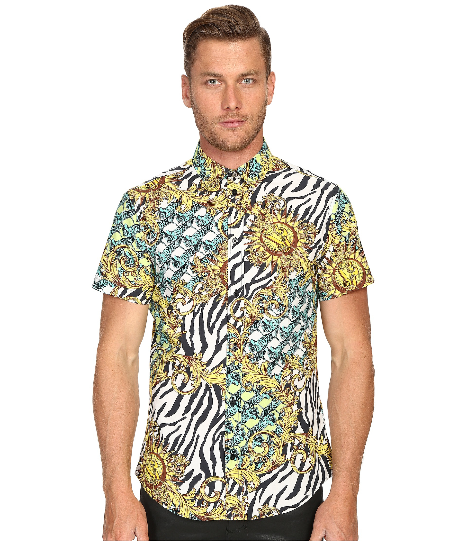6da84ef8 Versace Jeans All Over Baroque Tiger Print Short Sleeve Button Up ...