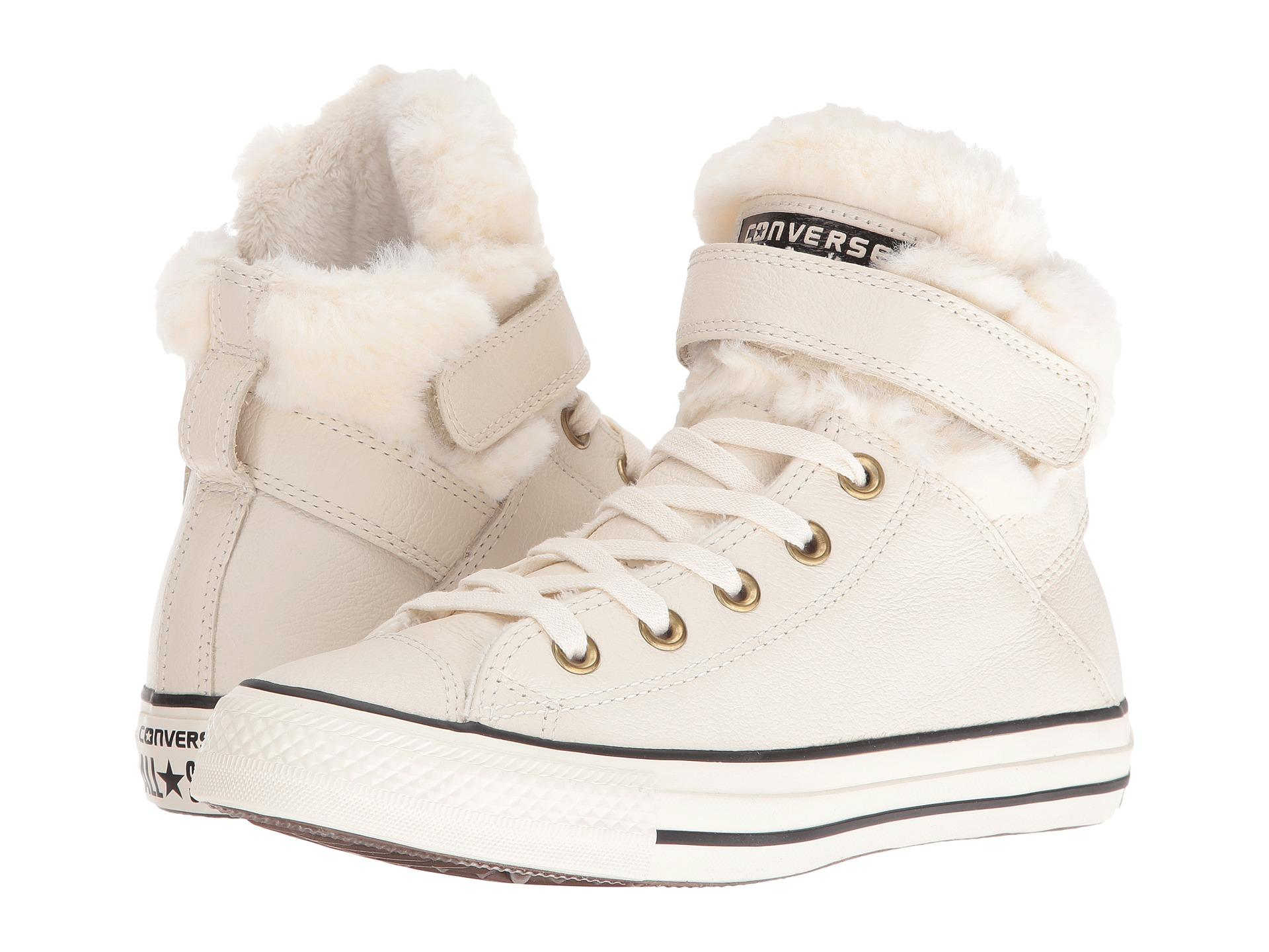 6eef718e2e07 Lyst - Converse Chuck Taylor® All Star® Brea Leather + Fur Hi in Black