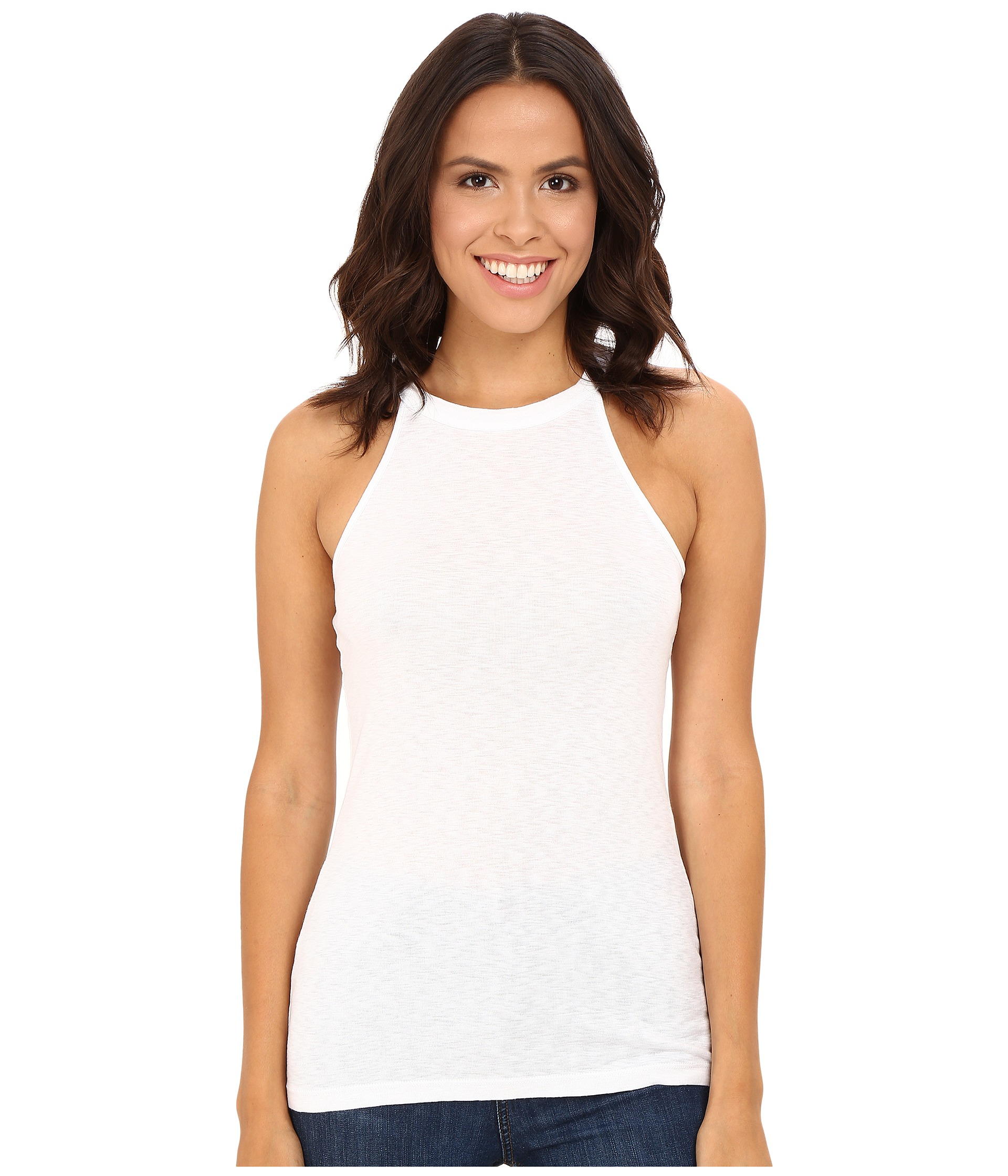 Michael stars slub halter tank top in white lyst for Michael stars t shirts on sale