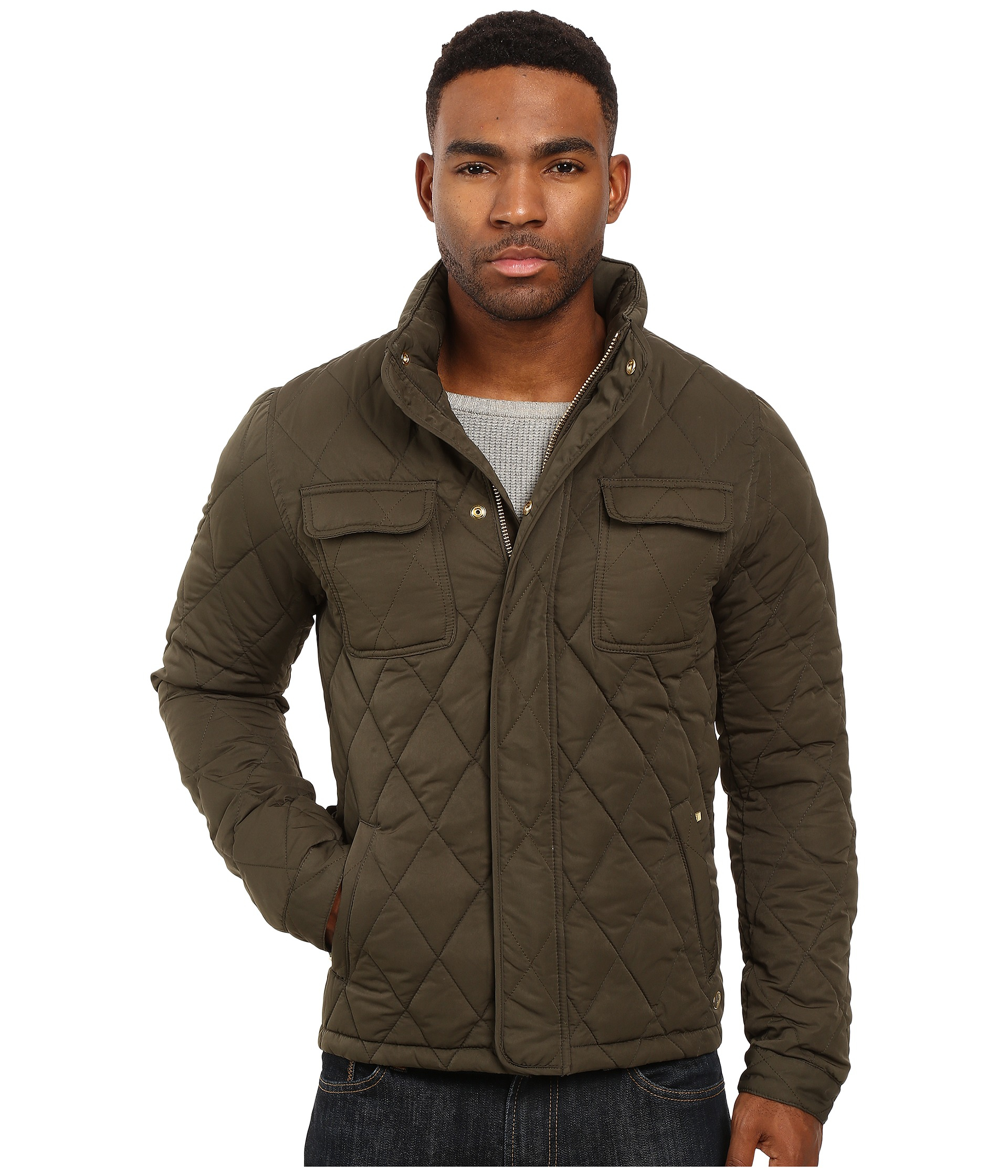 Scotch &amp soda Light Padded Quilted Jacket In Peached Nylon Quality