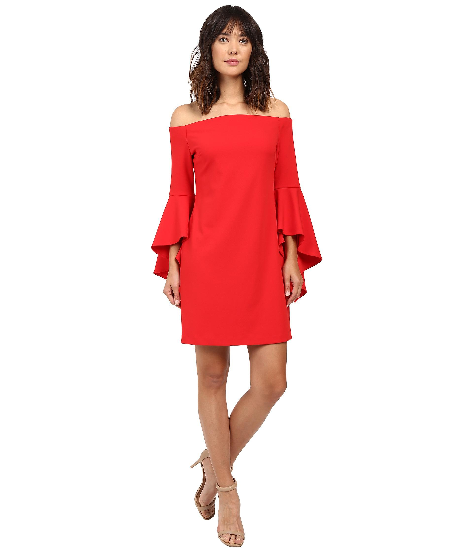 3ba04fa62e6 Vince Camuto Off Shoulder Dress With Handkerchief Sleeves in Red - Lyst