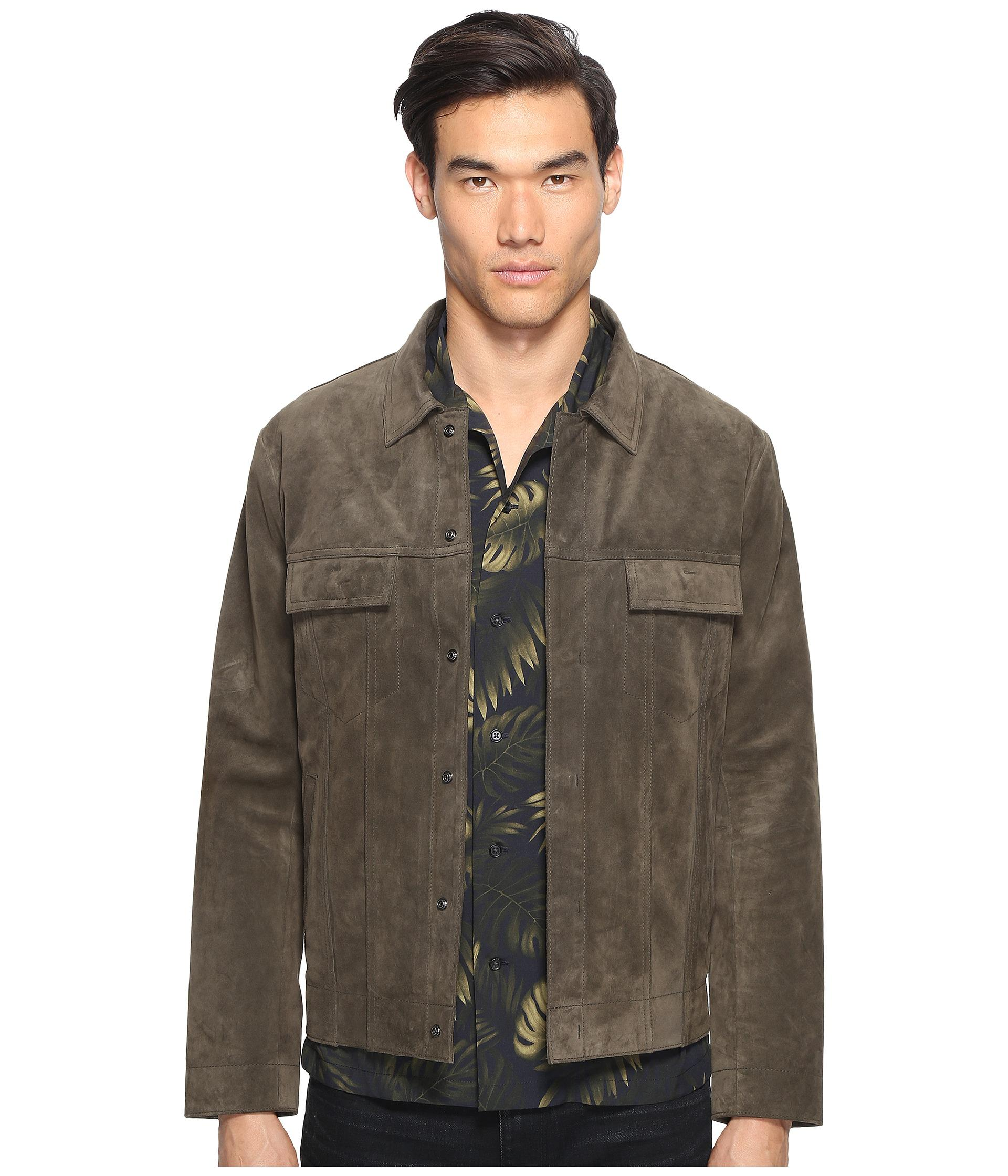 Vince Suede Trucker Jacket in Green for Men - Save 43%   Lyst