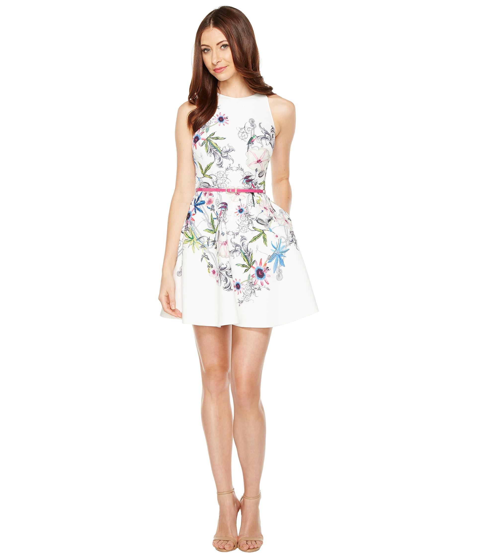 Lyst ted baker samm passion flower skater dress in white gallery mightylinksfo