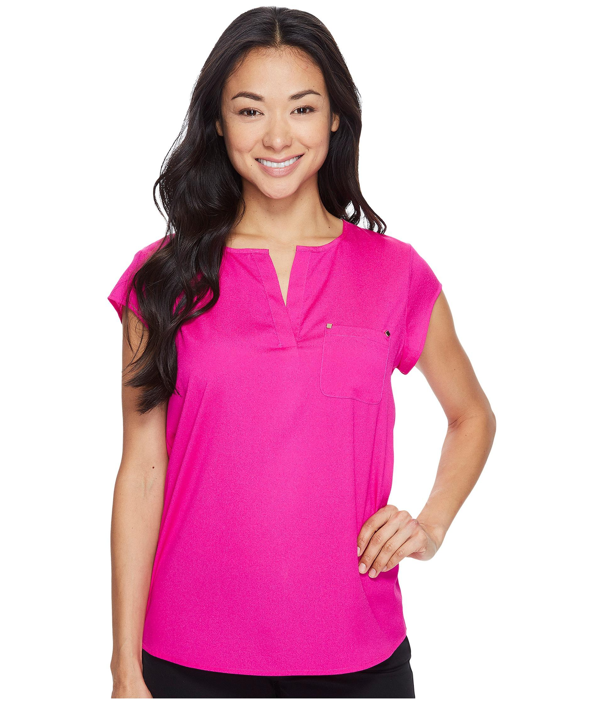 Ivanka trump Cap Sleeve Pocket Woven Top in Pink | Lyst