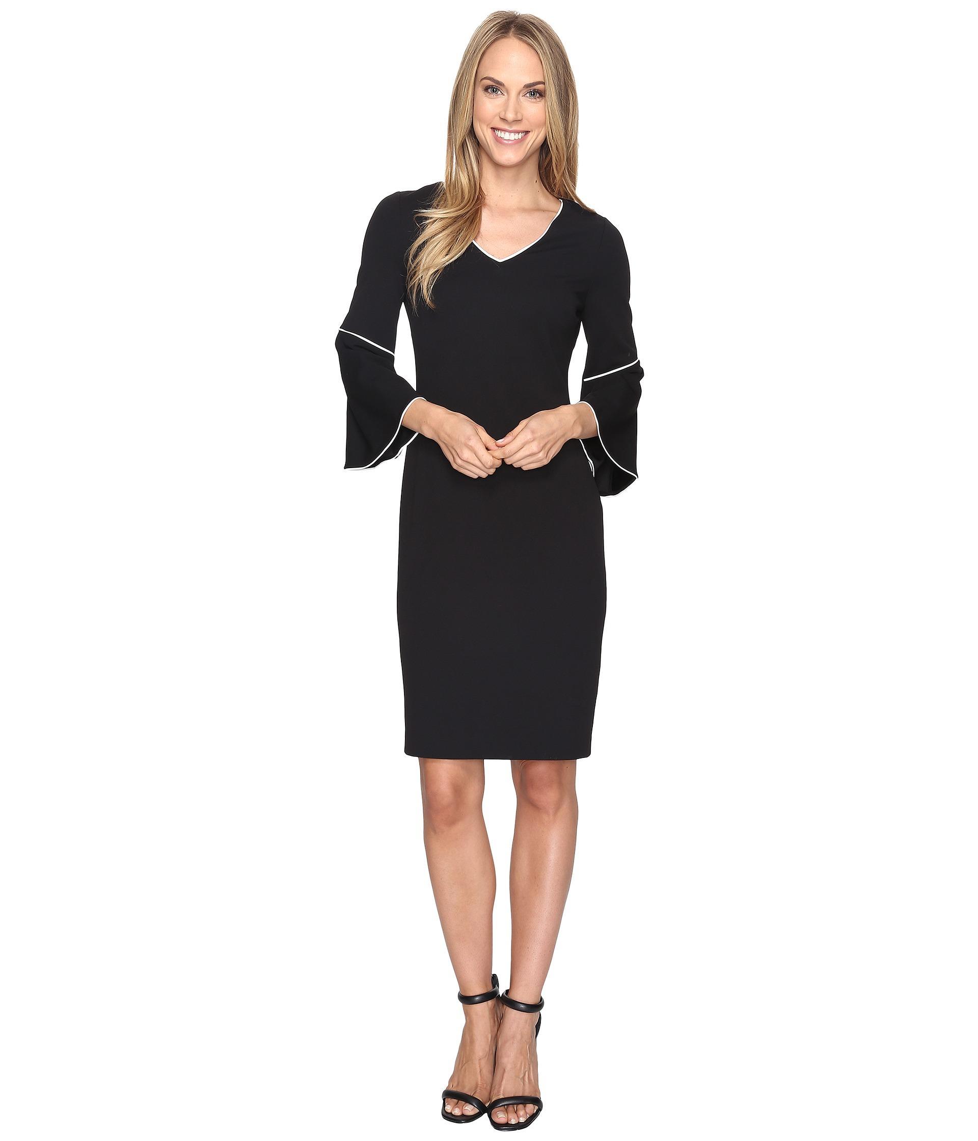 Calvin Klein Bell Sleeve Sheath Dress In Black Lyst