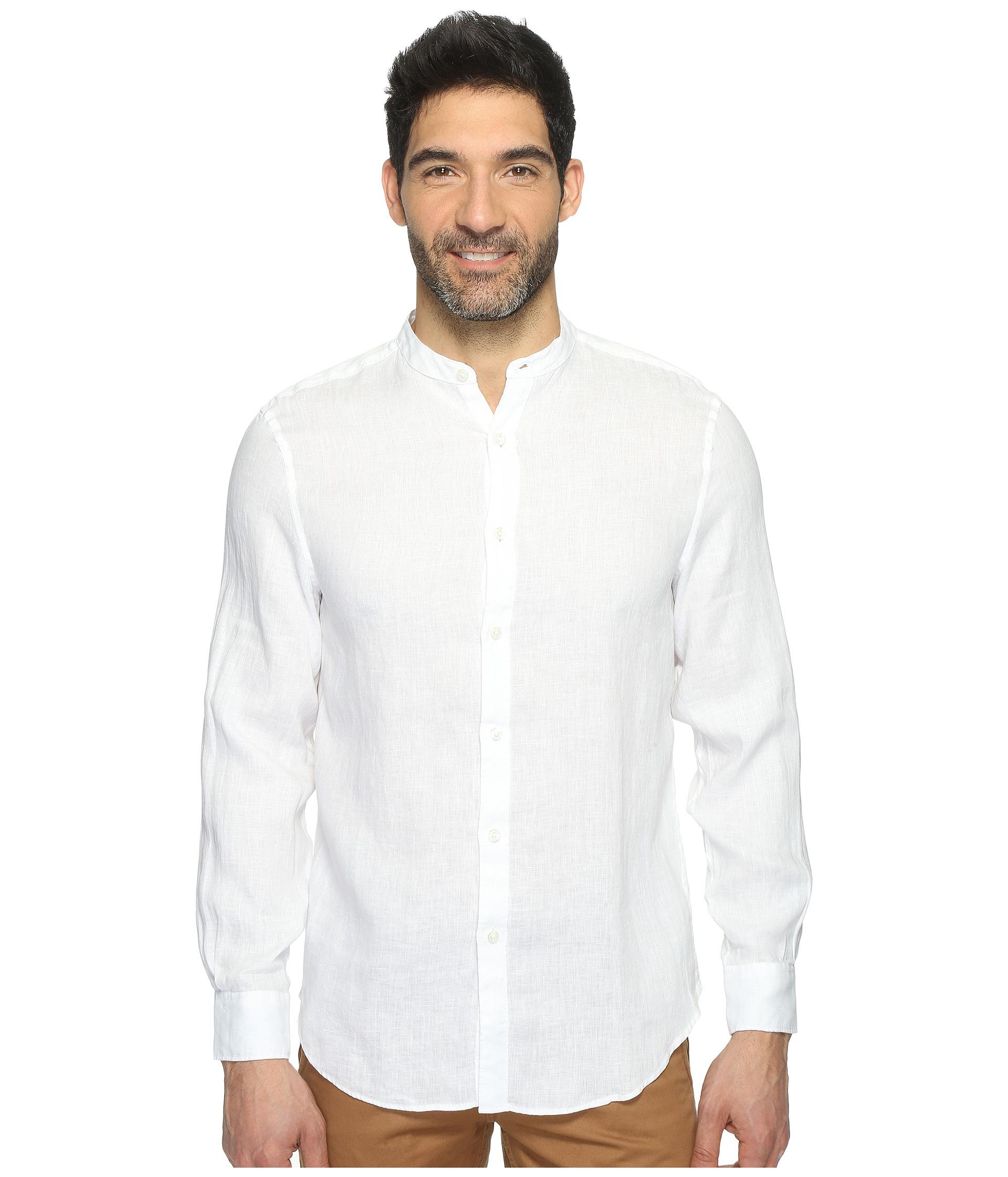 Perry Ellis Long Sleeve Solid Banded Collar Linen Shirt In