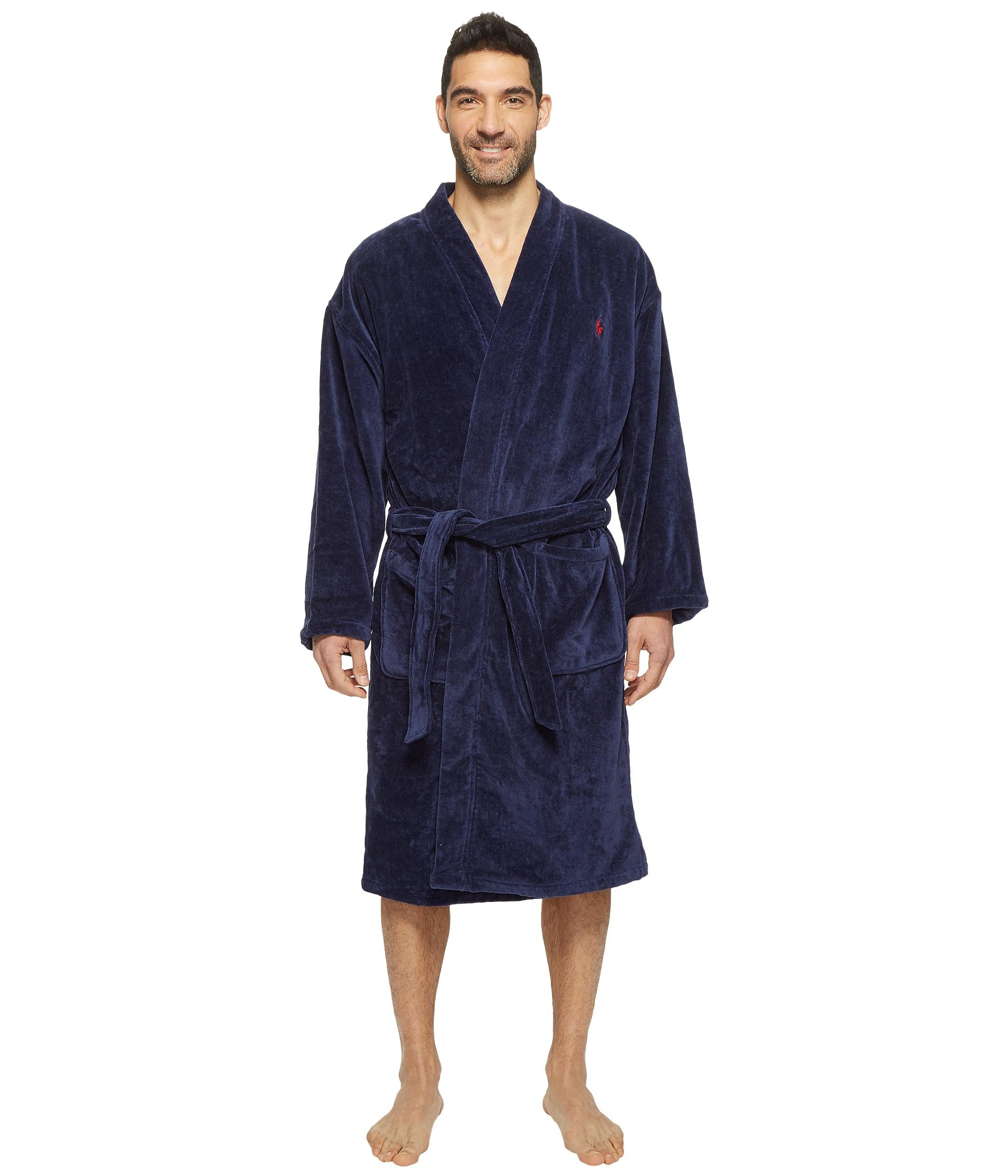 polo ralph lauren velour kimono robe in blue for men lyst. Black Bedroom Furniture Sets. Home Design Ideas