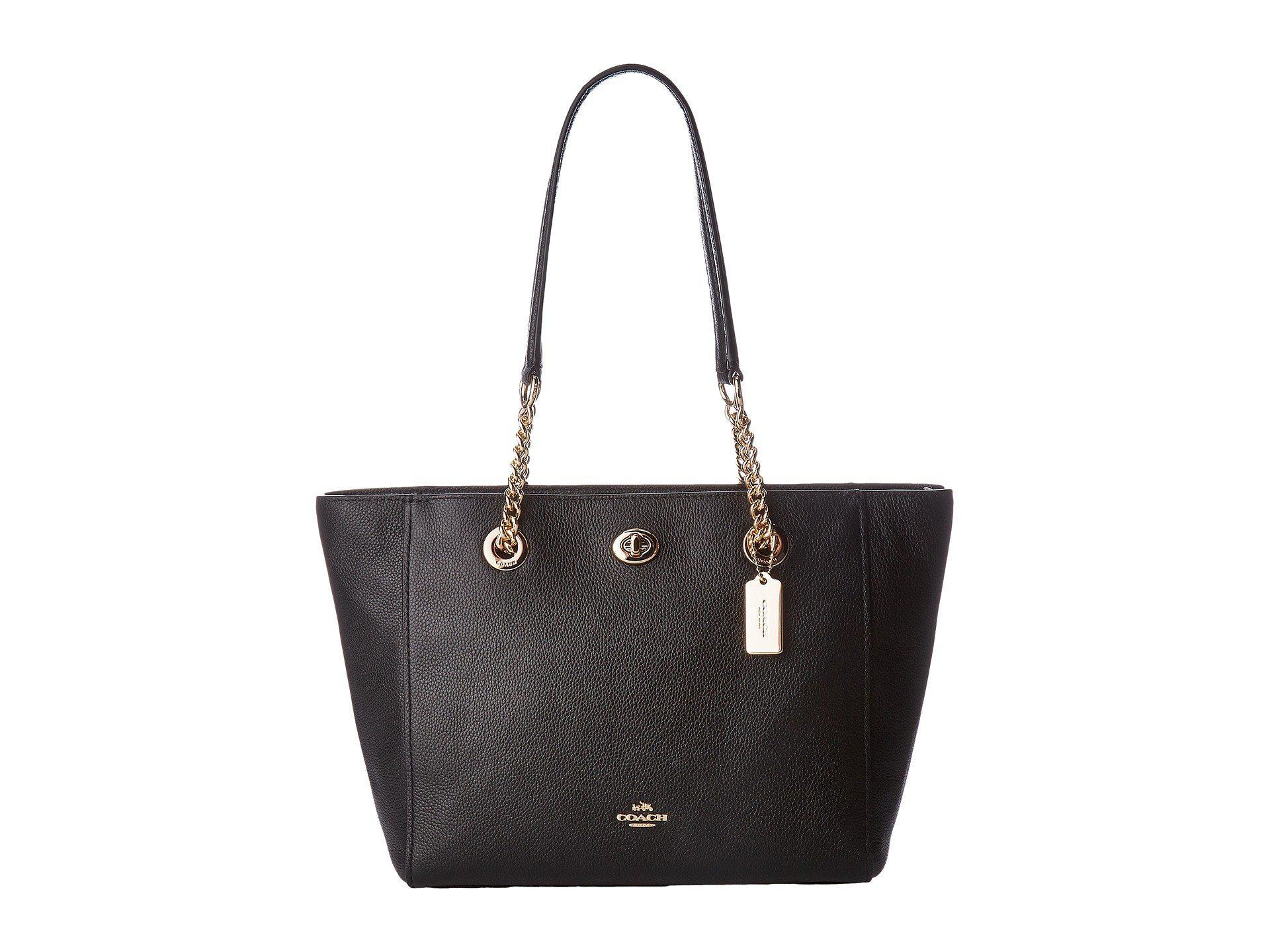 Lyst - COACH Pebbled Turnlock Chain Tote 27 (li black) Tote Handbags fba7d75f308be