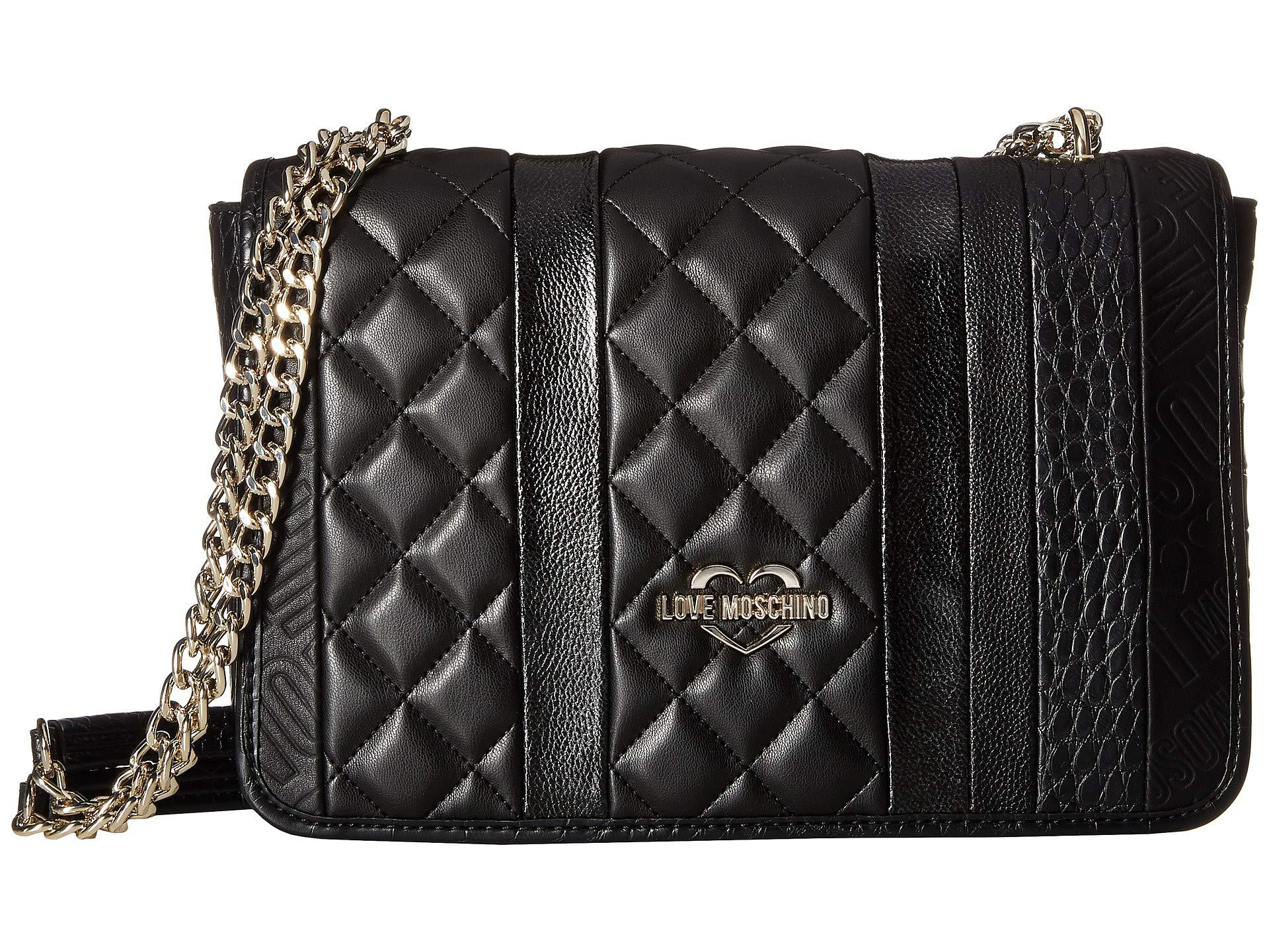 9628c276b7d Lyst - Love Moschino Fashion Stripes Quilted Shoulder Bag (black ...