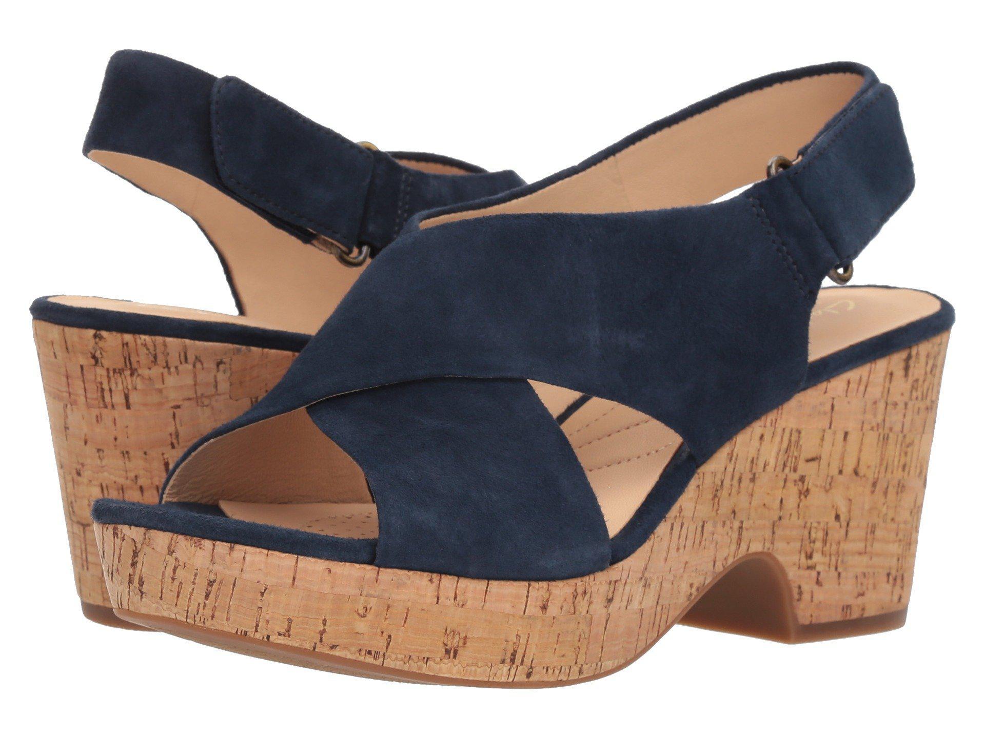 6c90e37f66 Clarks Maritsa Lara (navy Suede/cork) Women's Wedge Shoes in Blue - Lyst