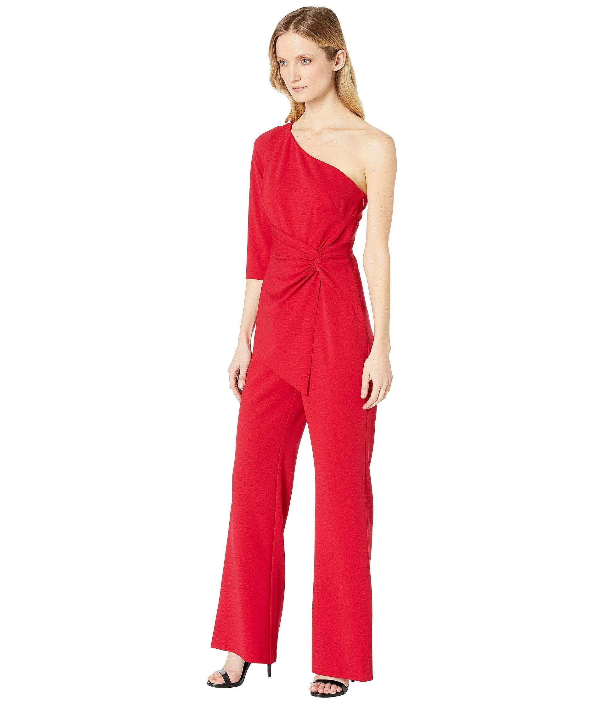 a7ec91a565fc Lyst - Adrianna Papell One Shoulder Jumpsuit (dark Cherry) Women s Jumpsuit    Rompers One Piece in Red