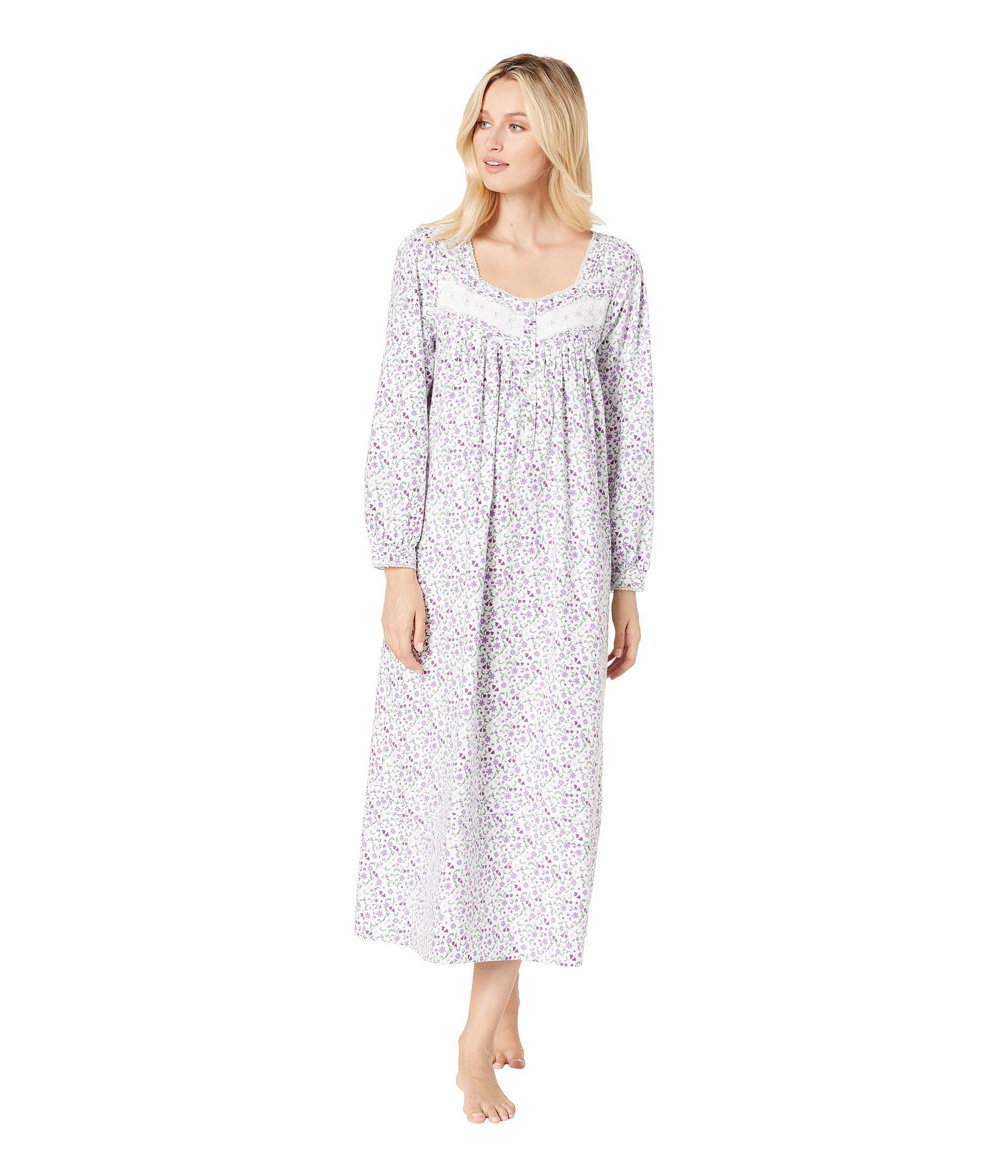 9daa2bd9bc Lyst - Eileen West Flannel Ballet Nightgown (white Rose Multi ...
