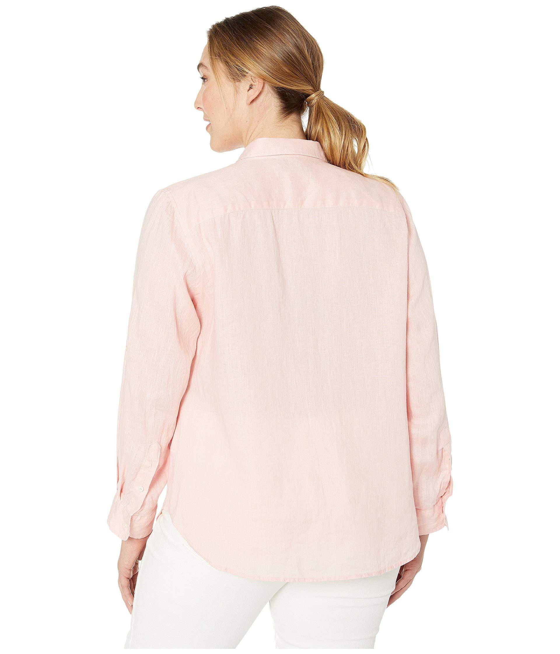 4ba8dffed Lauren by Ralph Lauren - Pink Plus Size Linen Roll-cuff Shirt (white). View  fullscreen