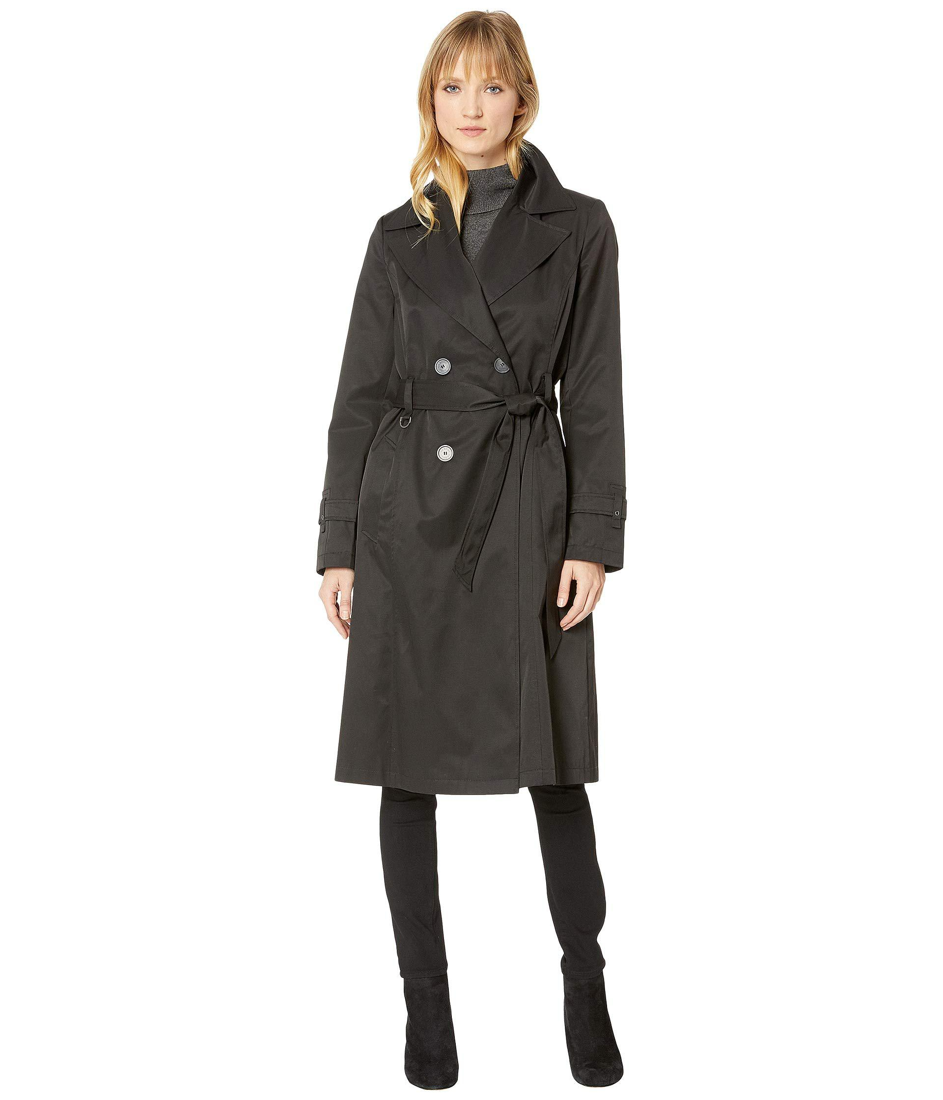 f55d5c785cf Lyst - Via Spiga Double Breasted Belted Long Trench (black) Women s ...