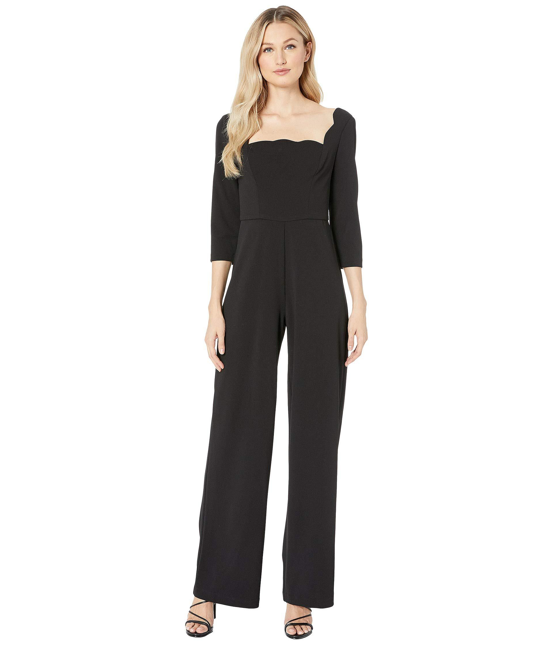 36db37ec4f7f Adrianna Papell. Knit Crepe Scalloped Jumpsuit (black) Women s Jumpsuit   Rompers  One Piece