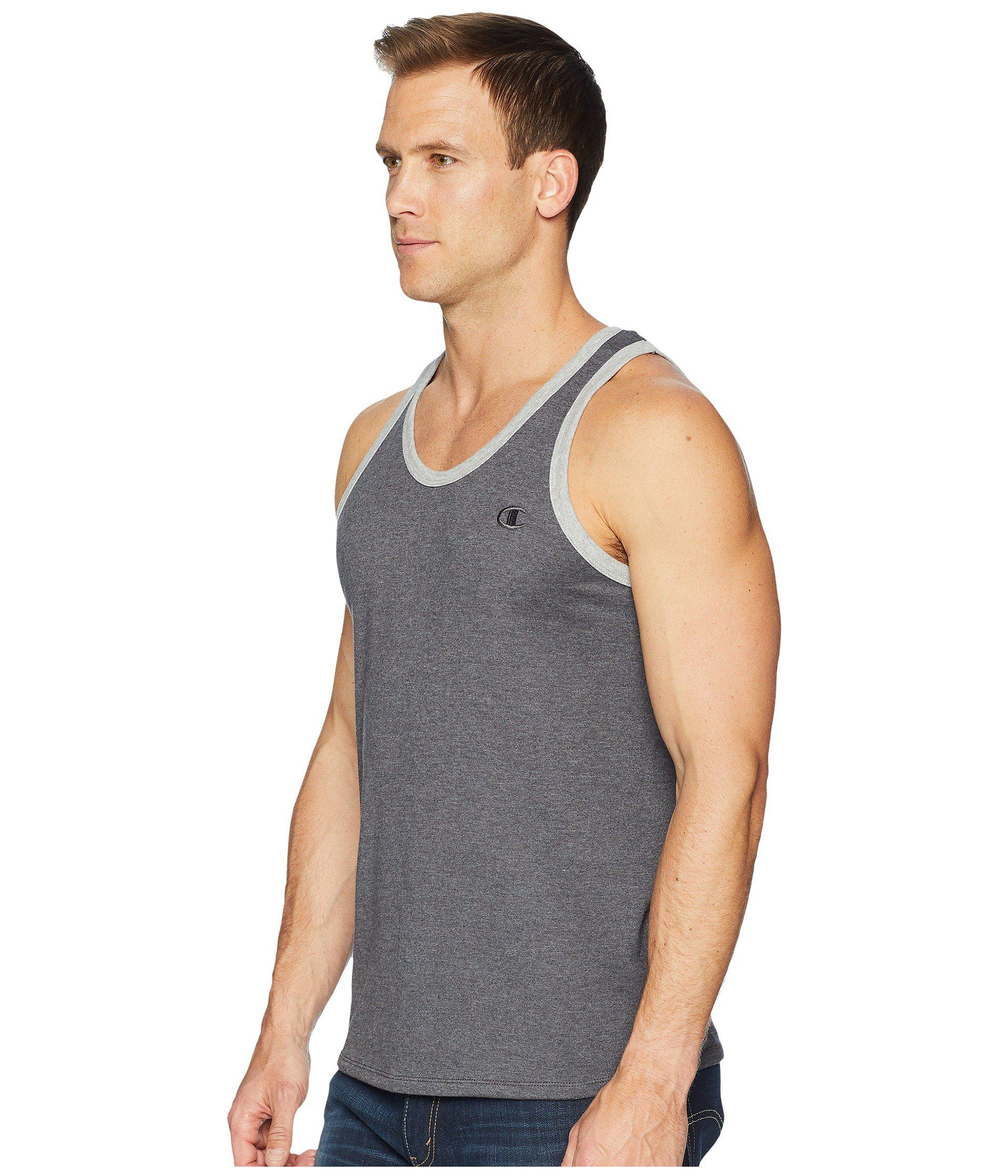 4256f3e5dfc192 Lyst - Champion Classic Jersey Ringer Tank Top (granite Heather oxford Grey  Heather) Men s Sleeveless in Gray for Men