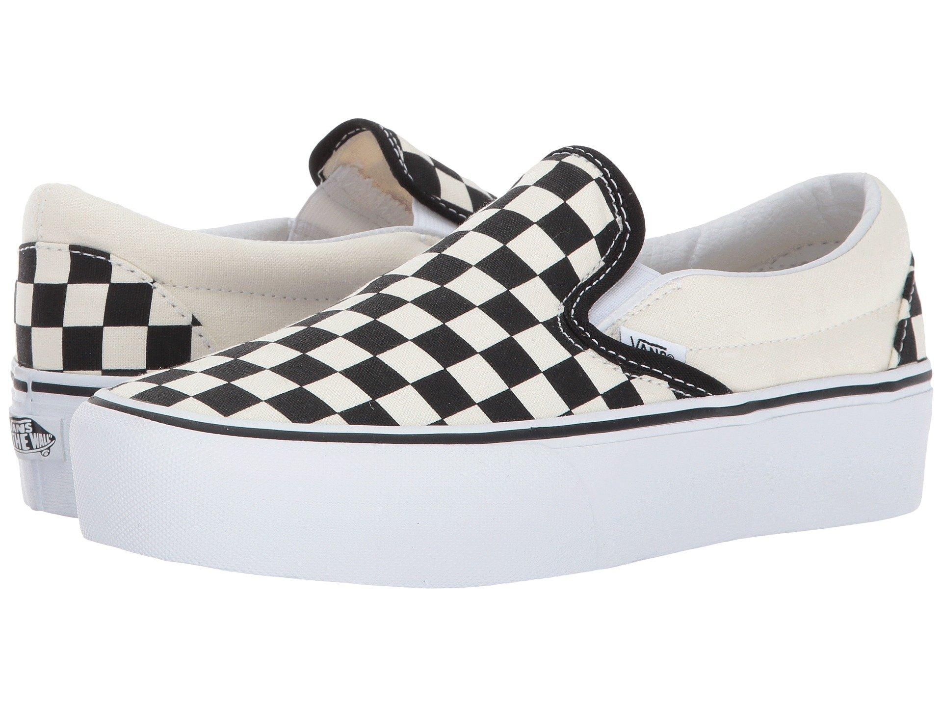 07c9aeff484 Lyst - Vans Women s Checkerboard Slip-on Platform Sneakers in White ...