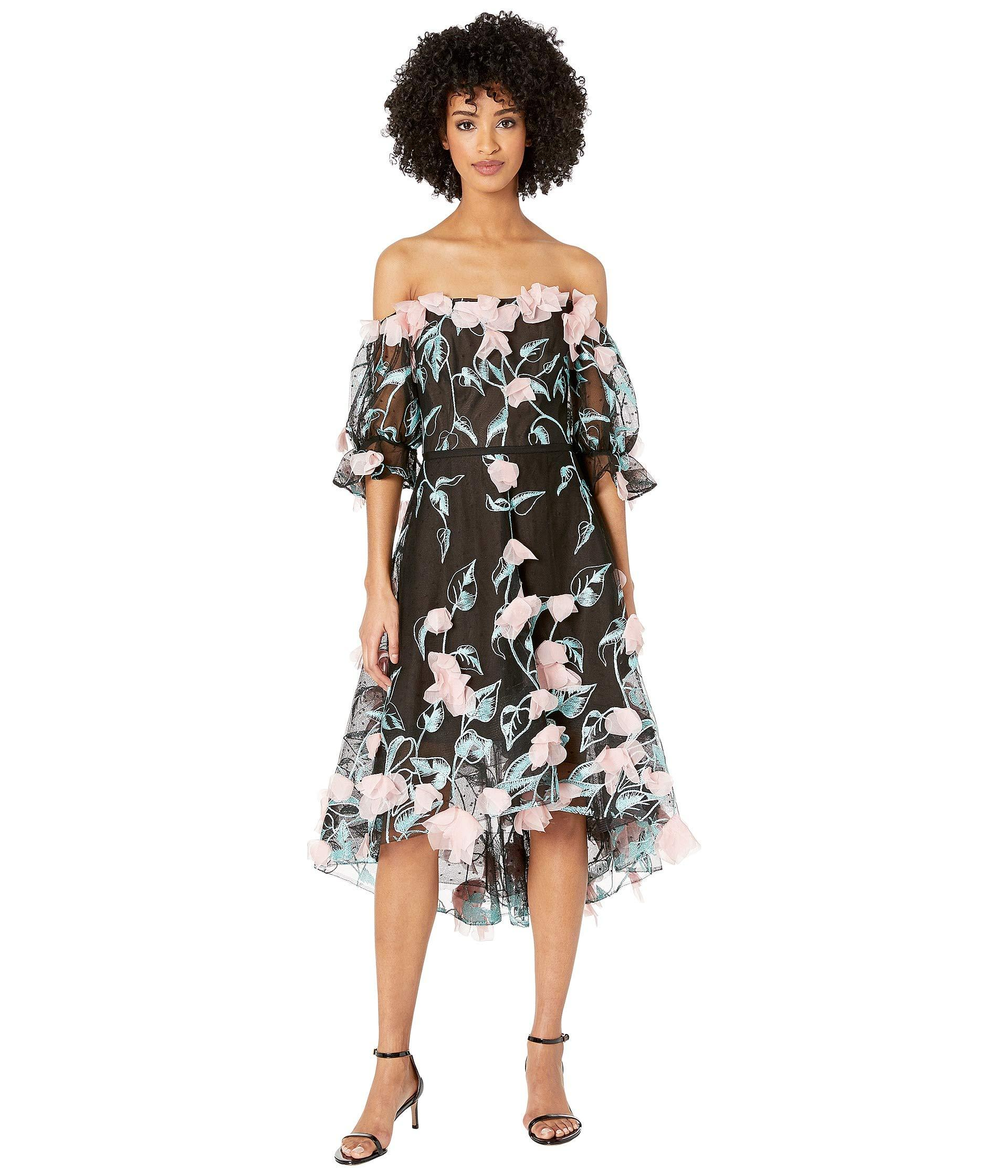 231eb6bc Marchesa notte. Off The Shoulder 3d Floral Embroidered Cocktail With  Blouson Sleeve And Trims (black) Women's Dress