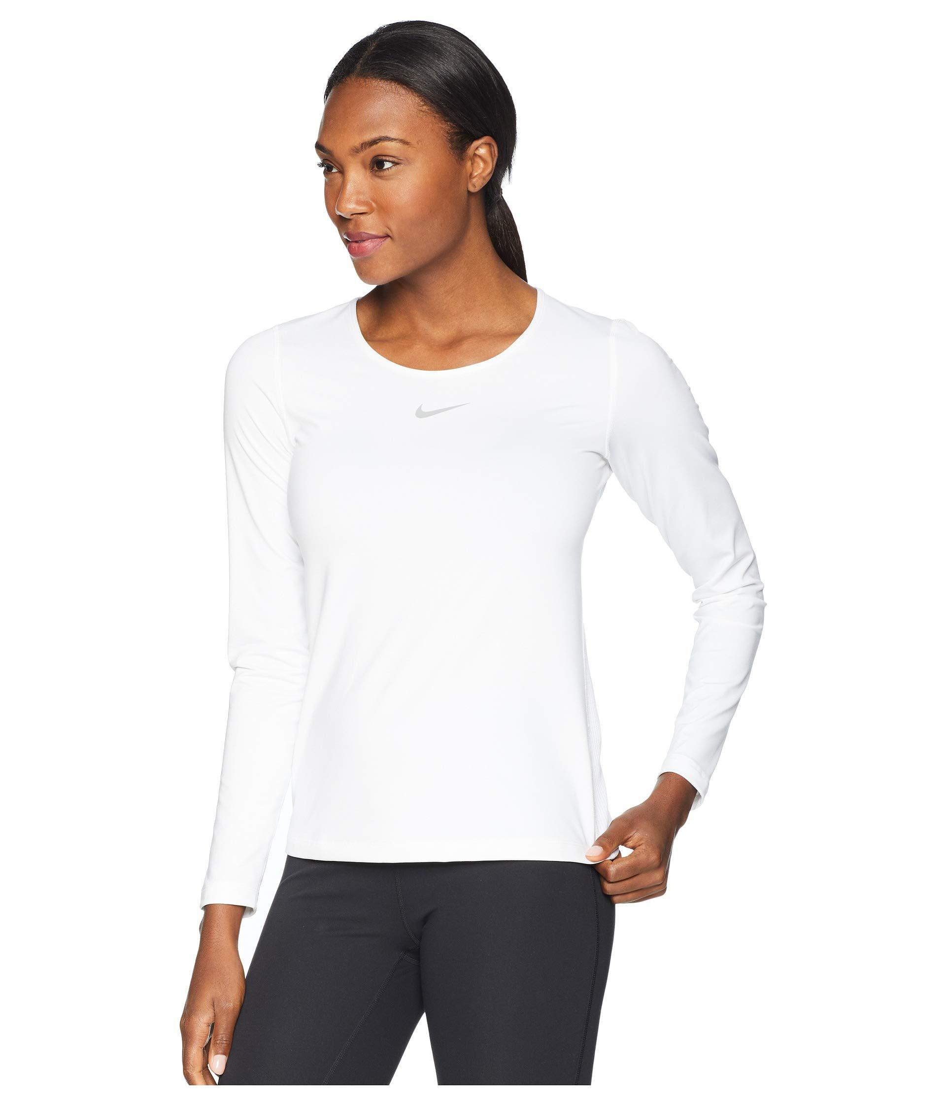 95bc98f1 Lyst - Nike Pro Warm Crew Top (white/wolf Grey) Women's Long Sleeve  Pullover in White
