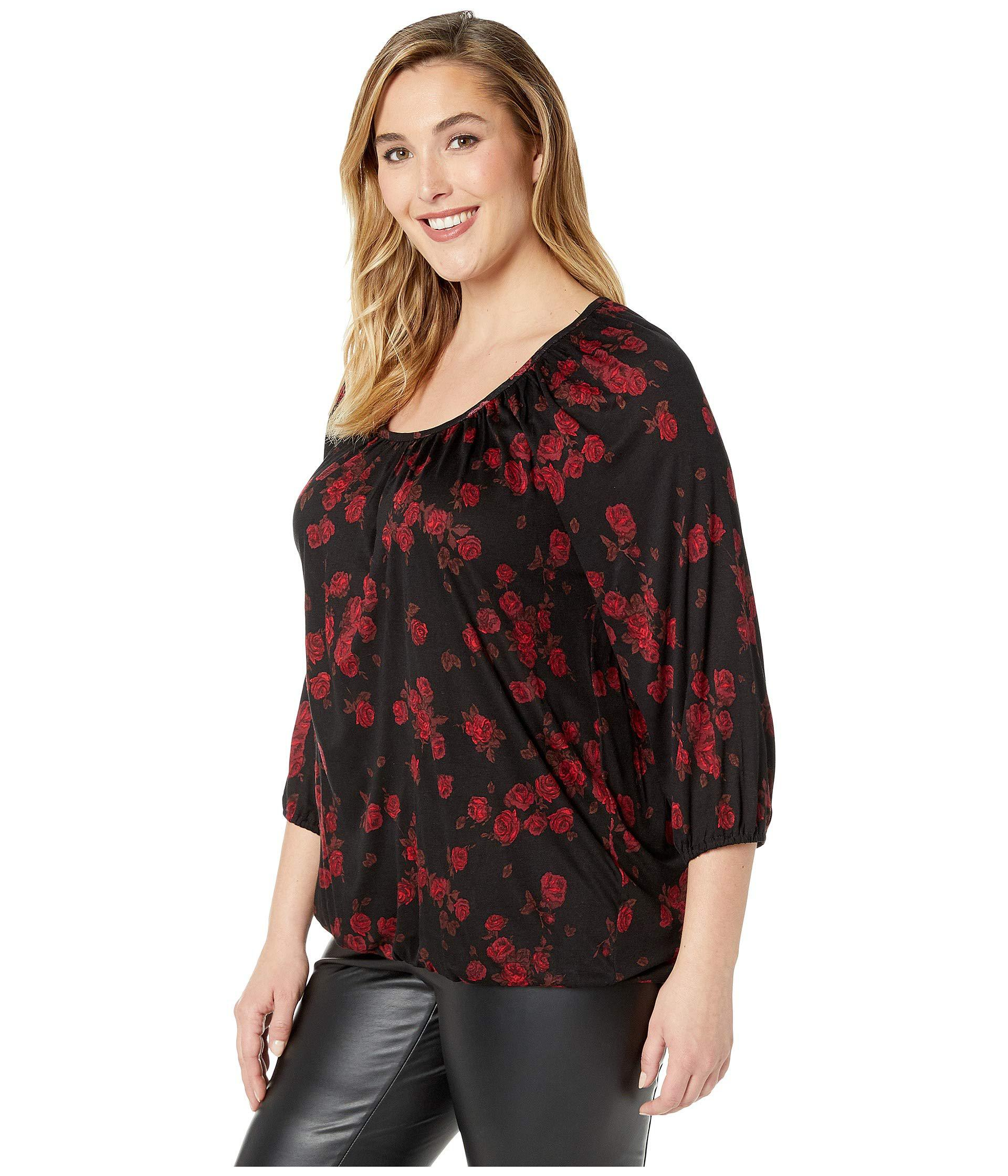 950de6eefc2 Lyst - MICHAEL Michael Kors Plus Size Eden Rose Peasant Top (black red  Currant) Women s Clothing in Red